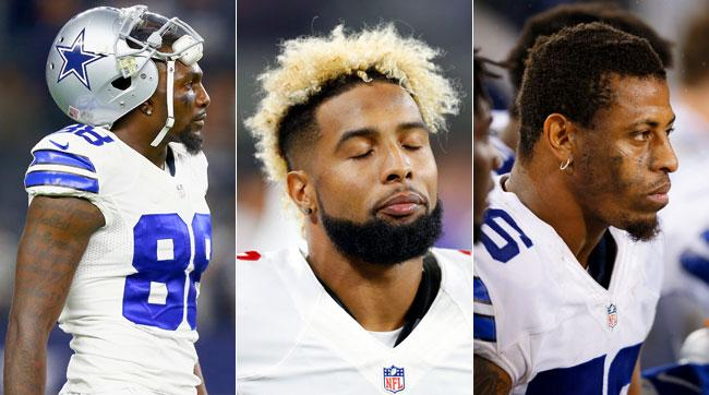 From l. to r., Dez Bryant, Odell Beckham Jr., and Greg Hardy