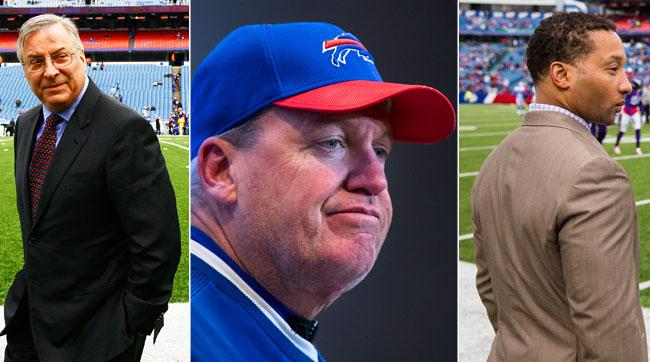 From l. to r., Bills owner Terry Pegula, former coach Rex Ryan and GM Doug Whaley.