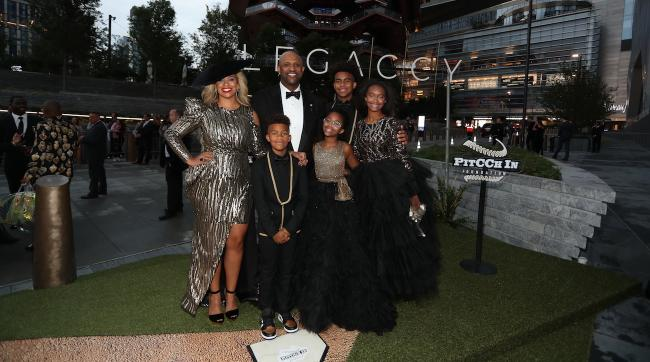 Sabathia and his wife, Amber (far left), celebrated his career and his foundation with friends and kids (counterclockwise from left) Carter, Cyia, Jaden, and Lil C.
