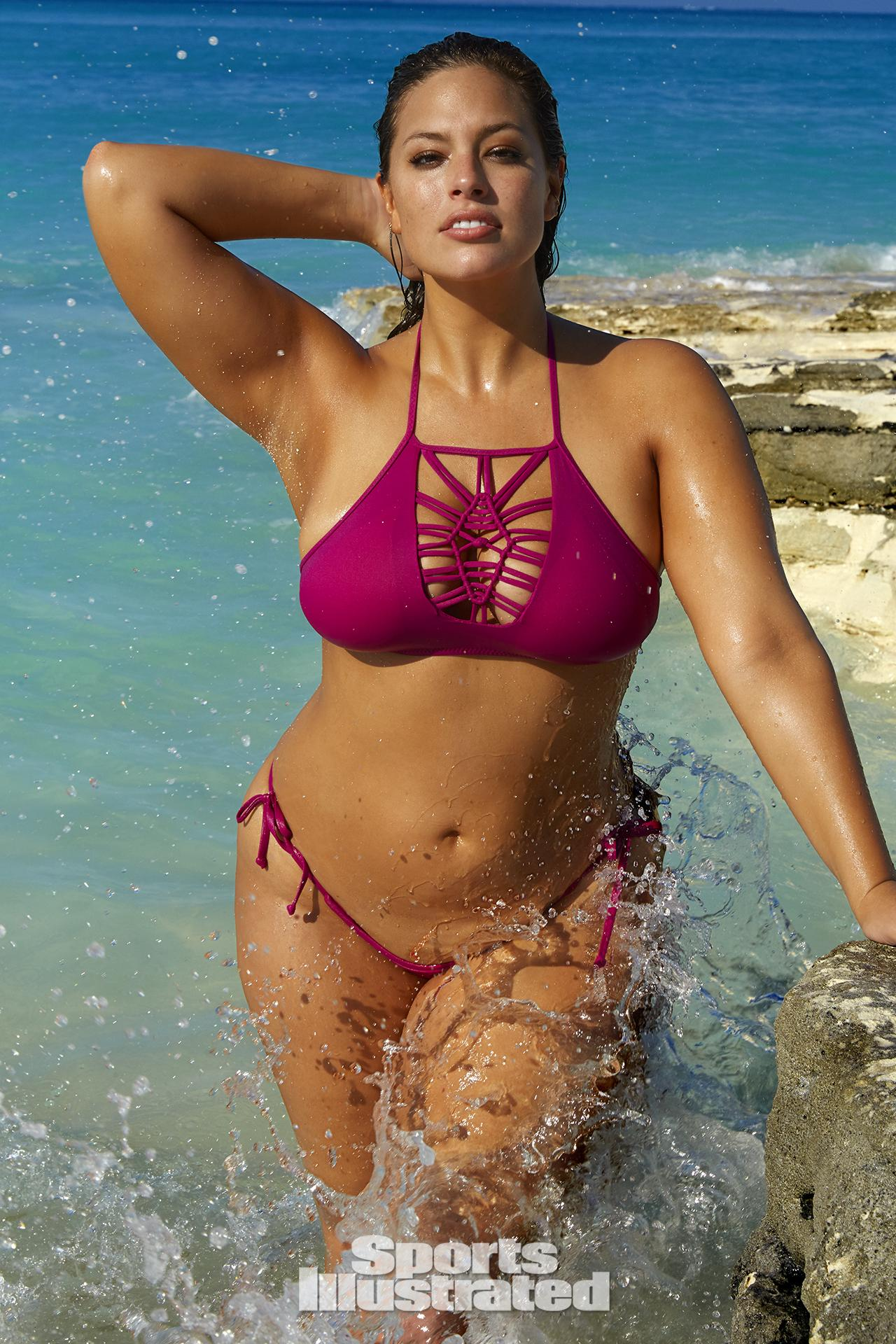 Ashley Graham was photographed by James Macari in Turks & Caicos. Swimsuit by BECCA By Rebecca Virtue.