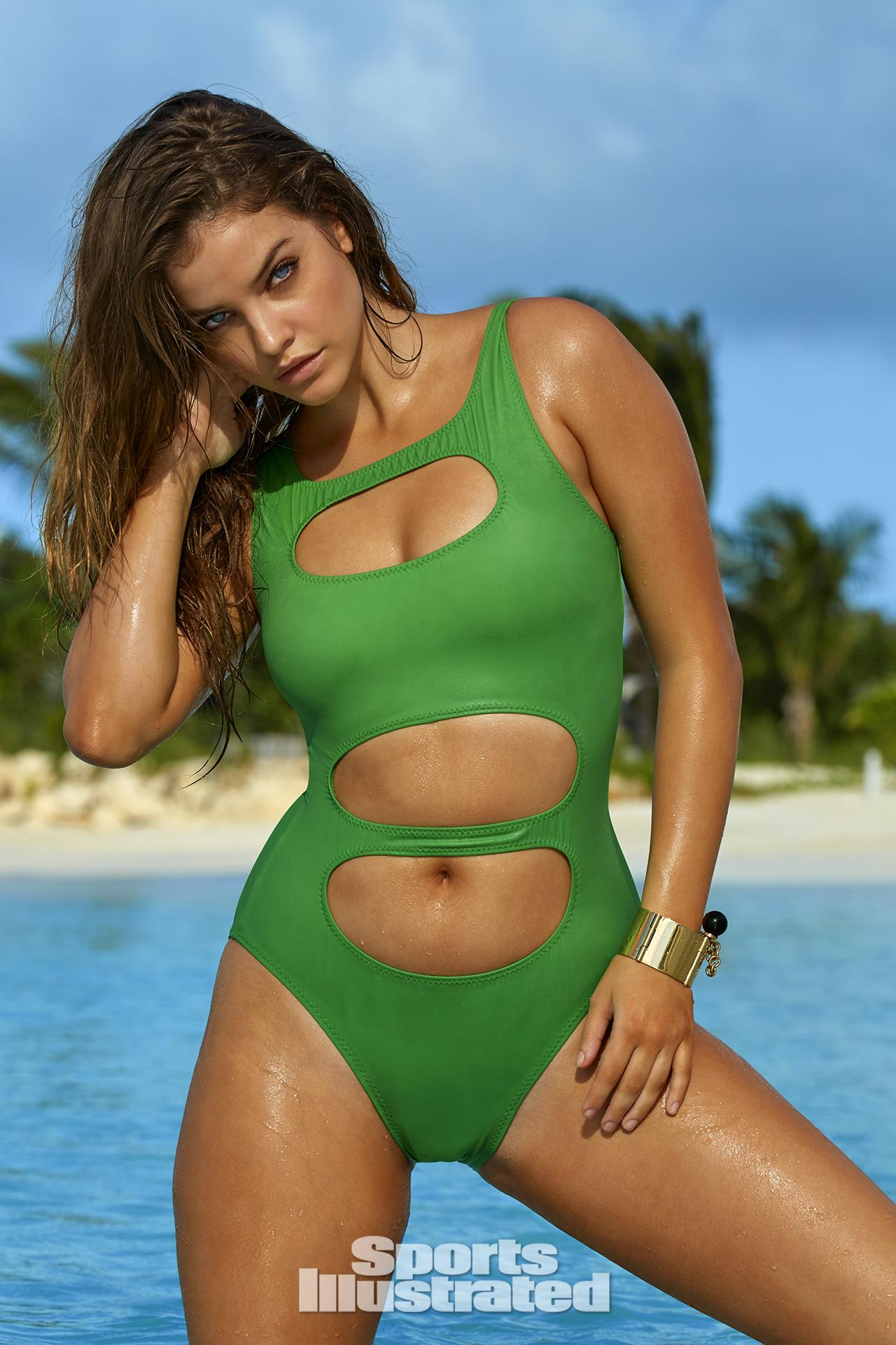 Barbara Palvin was photographed by James Macari in Turks & Caicos. Swimsuit by Norma Kamali.