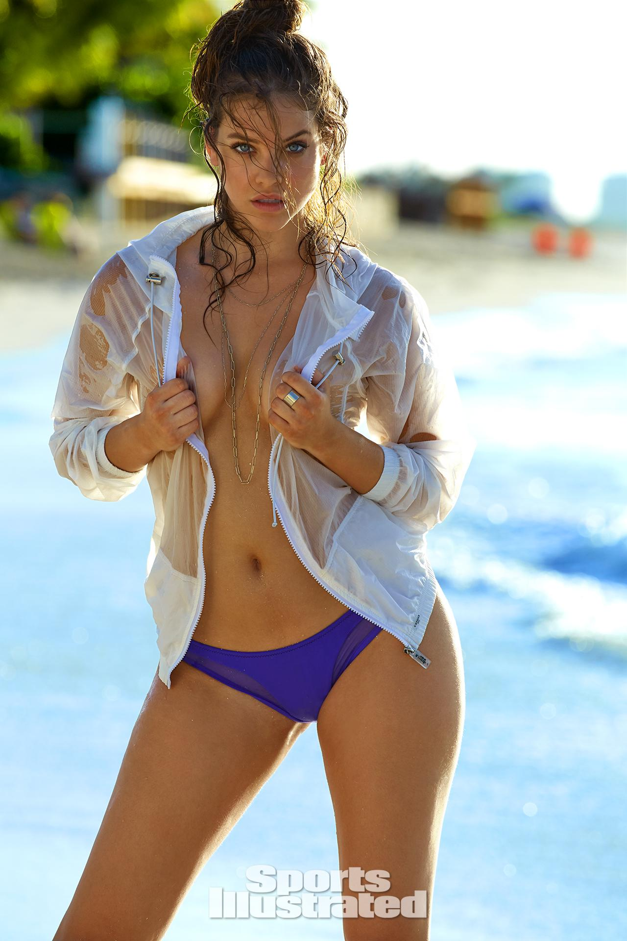 Barbara Palvin was photographed by James Macari in Turks & Caicos. Jacket by L'Etoile Sport. Swimsuit by Iztali Swim.