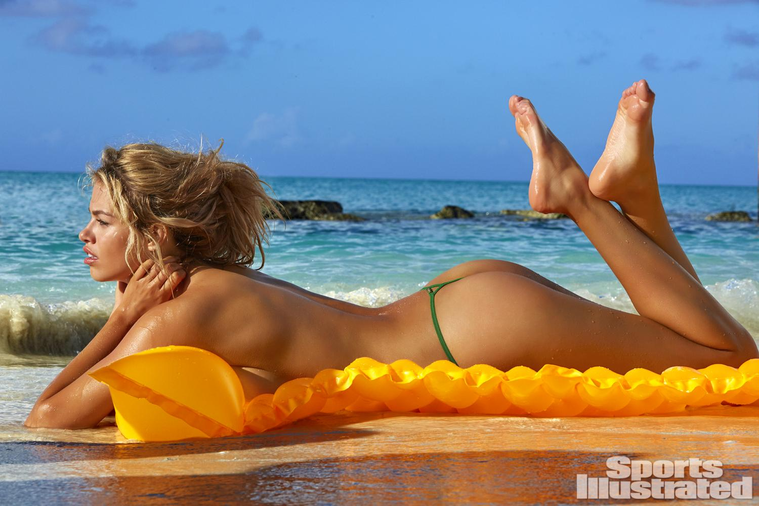 Hailey Clauson was photographed by James Macari in Turks & Caicos. Swimsuit by Ola Vida.
