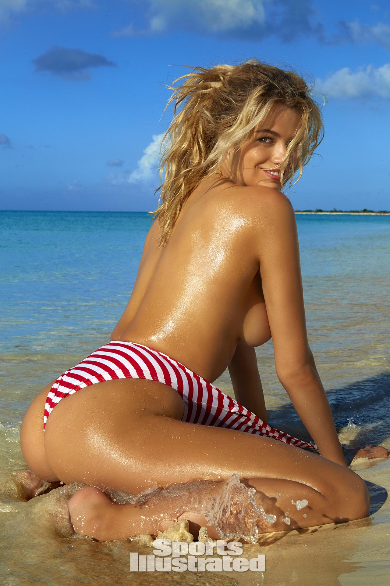Hailey Clauson was photographed by James Macari in Turks & Caicos. Swimsuit by Gnash Swim.