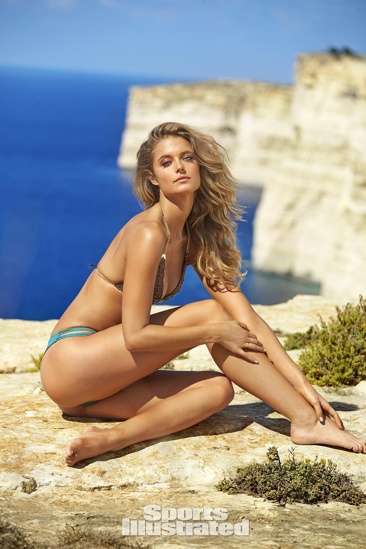 Kate Bock was photographed by Ben Watts in Malta. Top by Ten Pounds of Feathers. Swimsuit by AYRA SWIMWEAR.
