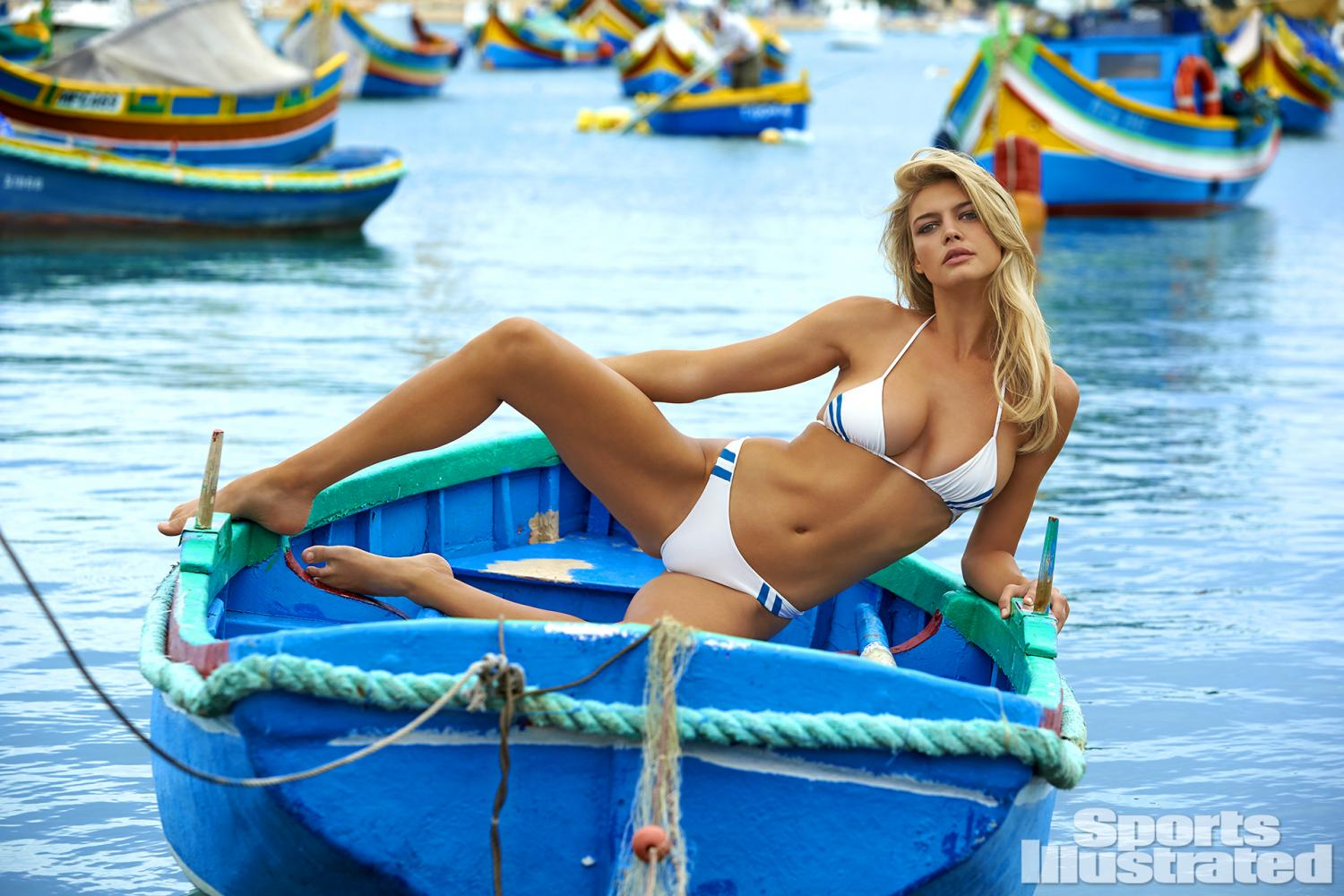 Kelly Rohrbach was photographed by Ben Watts in Malta. Swimsuit by MIKOH.