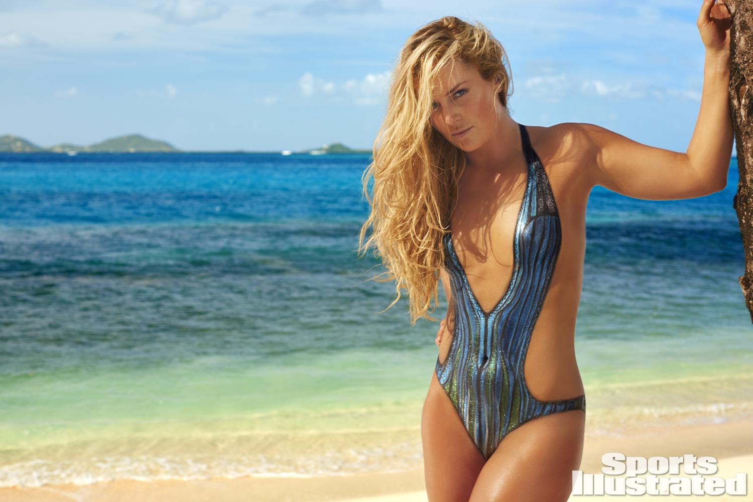 body paint Lindsey Vonn was photographed by Frederic Pinet in Petit St. Vincent.  Swimsuit inspired by