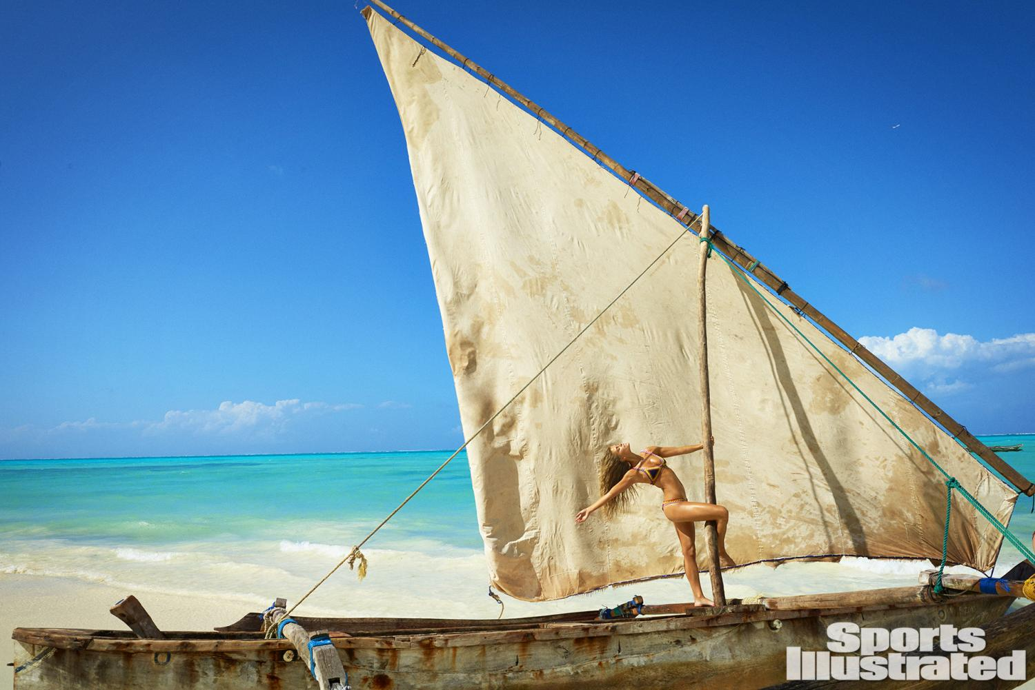 Nina Agdal was photographed by Ruven Afanador in Zanzibar. Swimsuit by KIINI.