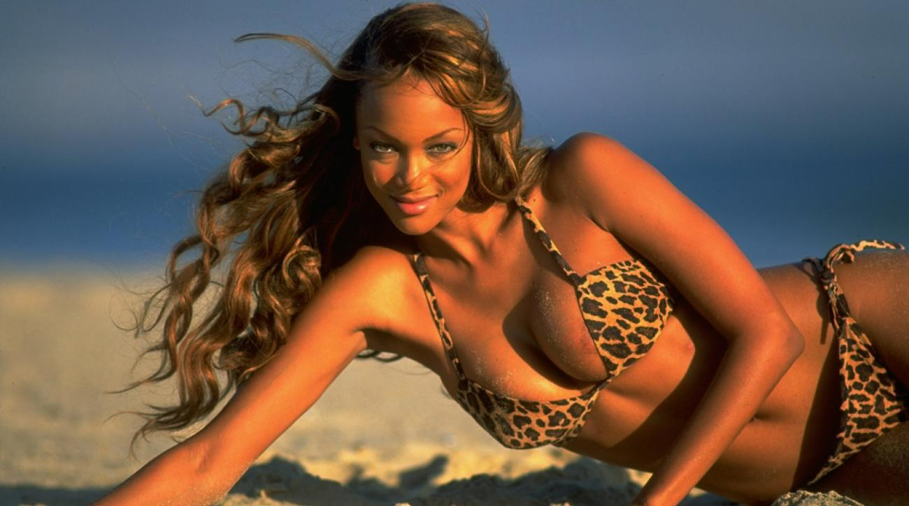 Check out that smize: Tyra Banks lying on beach at Sandown Bay in 1996.