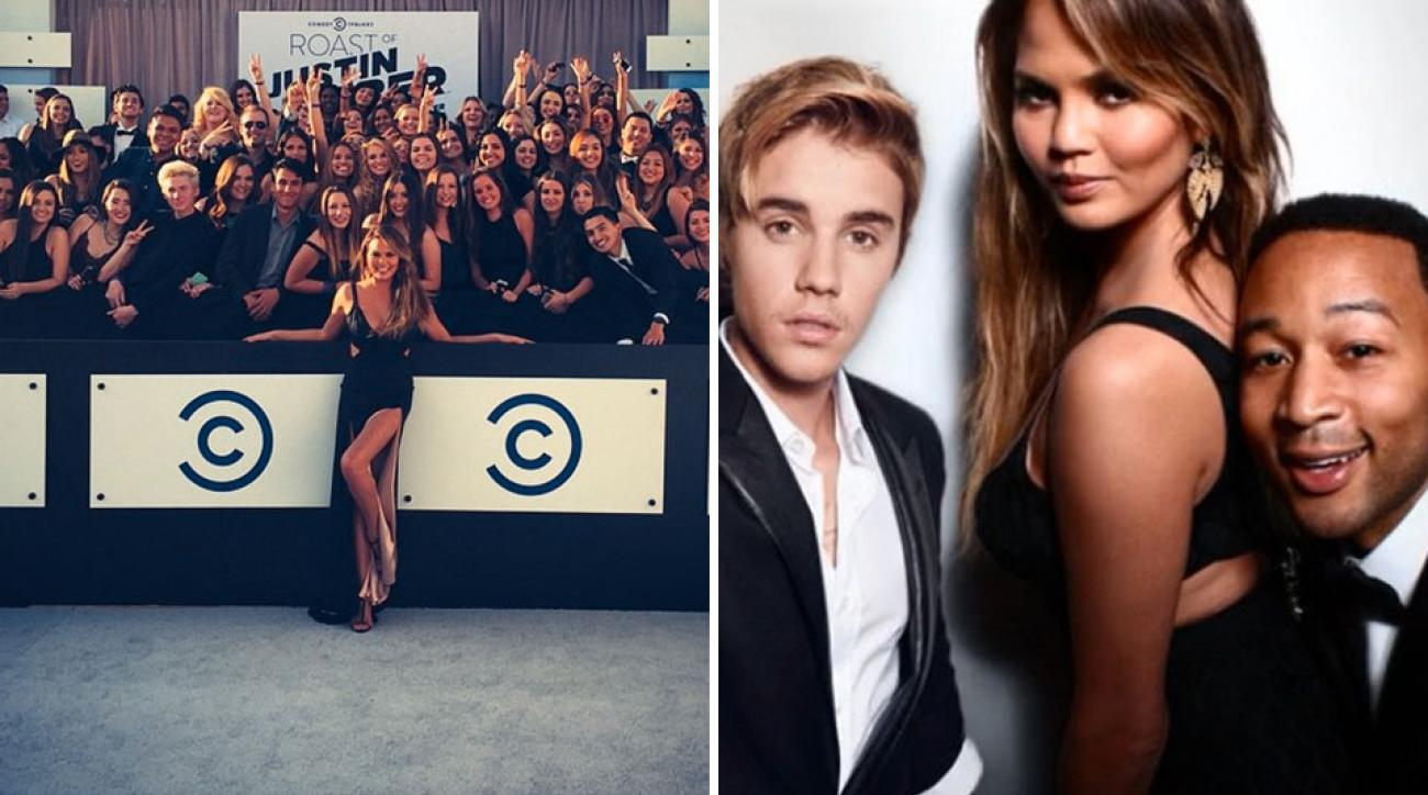 Chrissy Teigen, Justin Bieber and John Legend at Comedy Central's Roast of Justin Bieber
