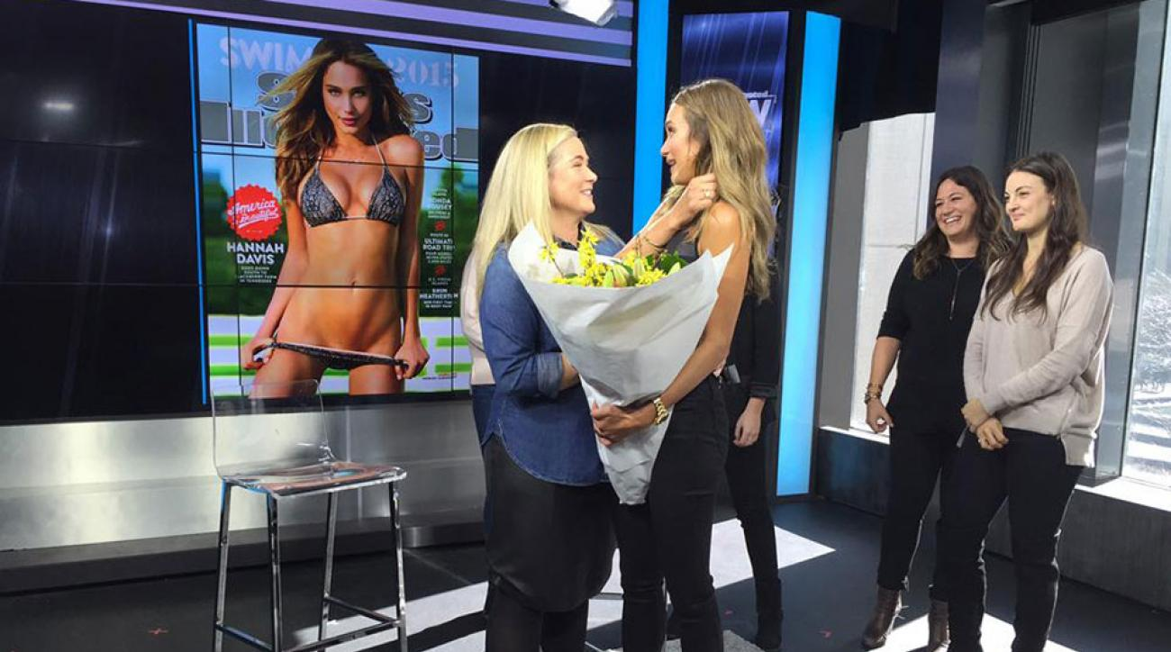 MJ Day and Hannah Davis celebrate the 2015 SI Swimsuit cover
