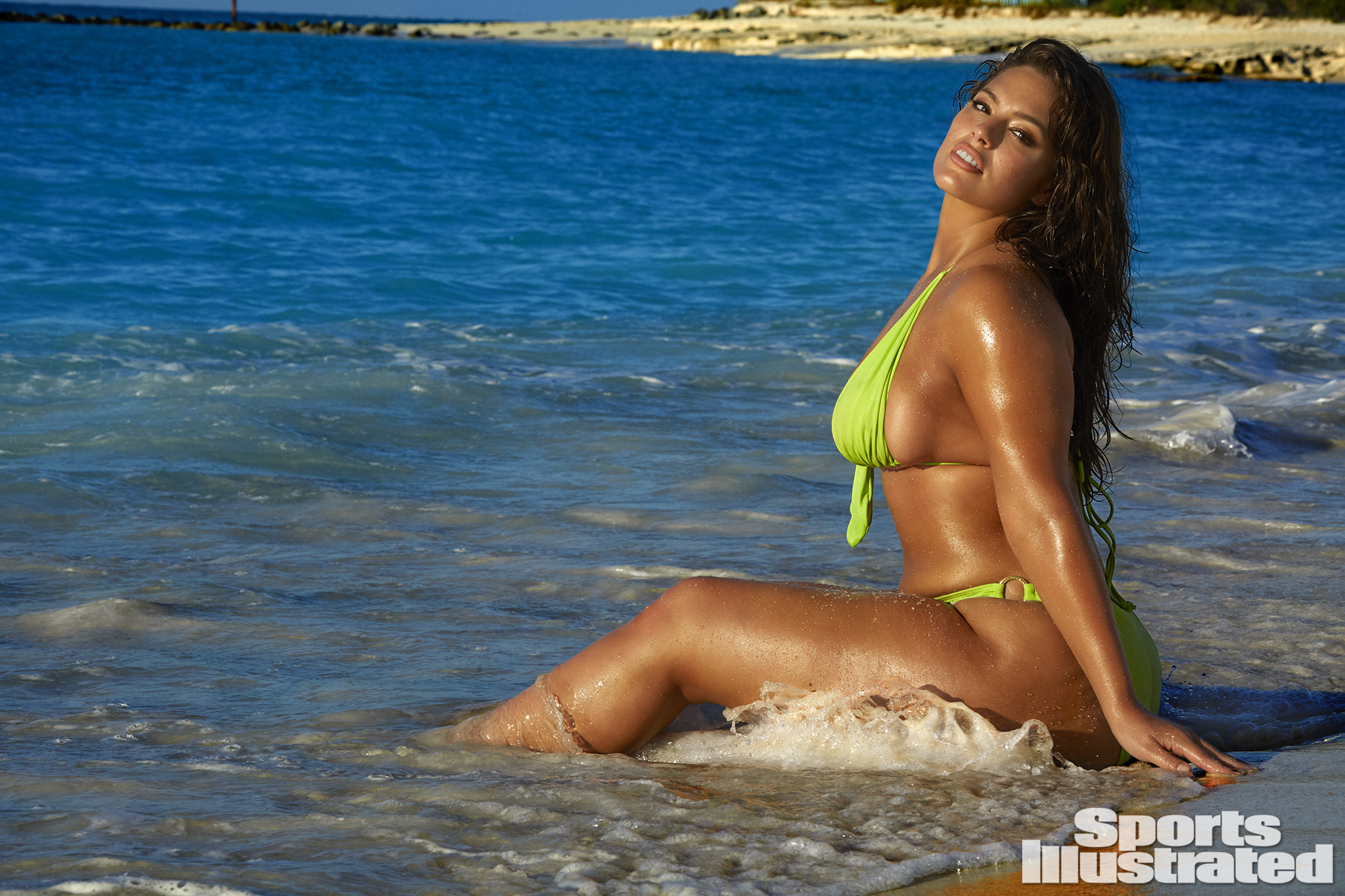Ashley Graham was photographed by James Macari in Turks & Caicos. Swimsuit by Trunkettes.
