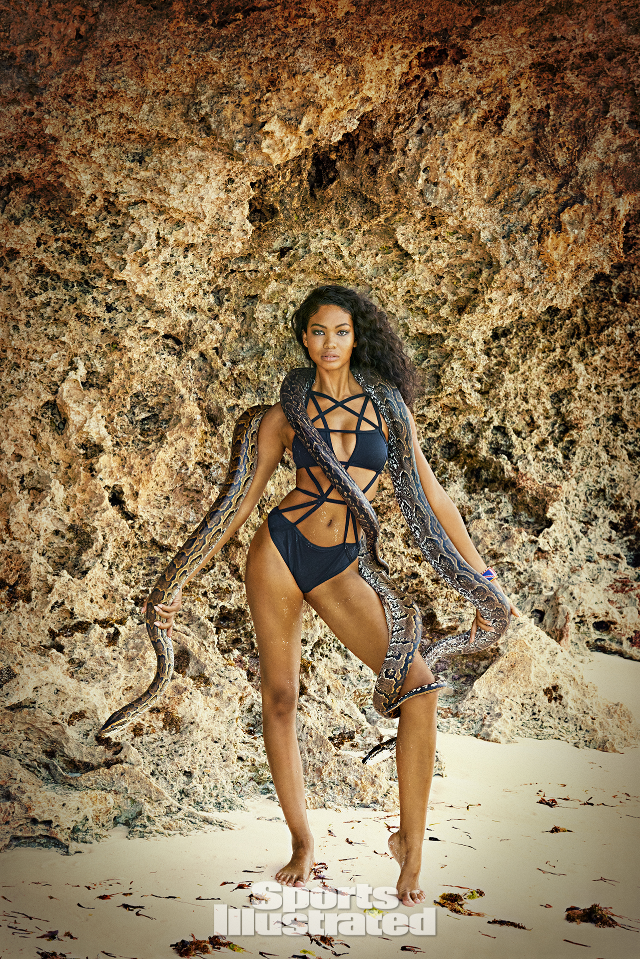 Chanel Iman was photographed by Ruven Afanador in Zanzibar. Swimsuit by CHROMAT.