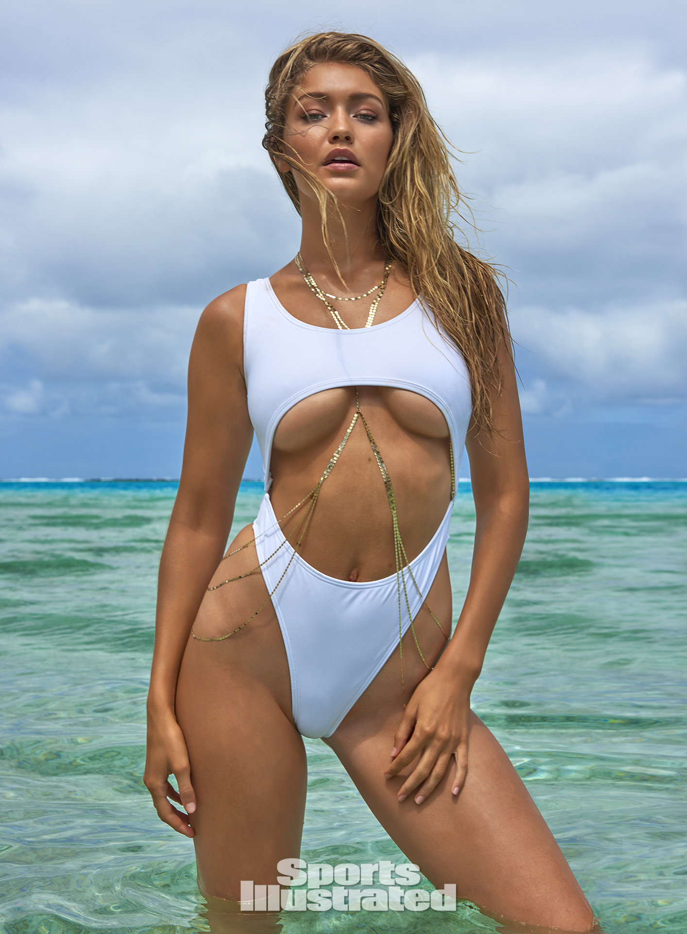Gigi Hadid was photographed by Yu Tsai in The Islands Of Tahiti. Swimsuit by Lola And Lamar.
