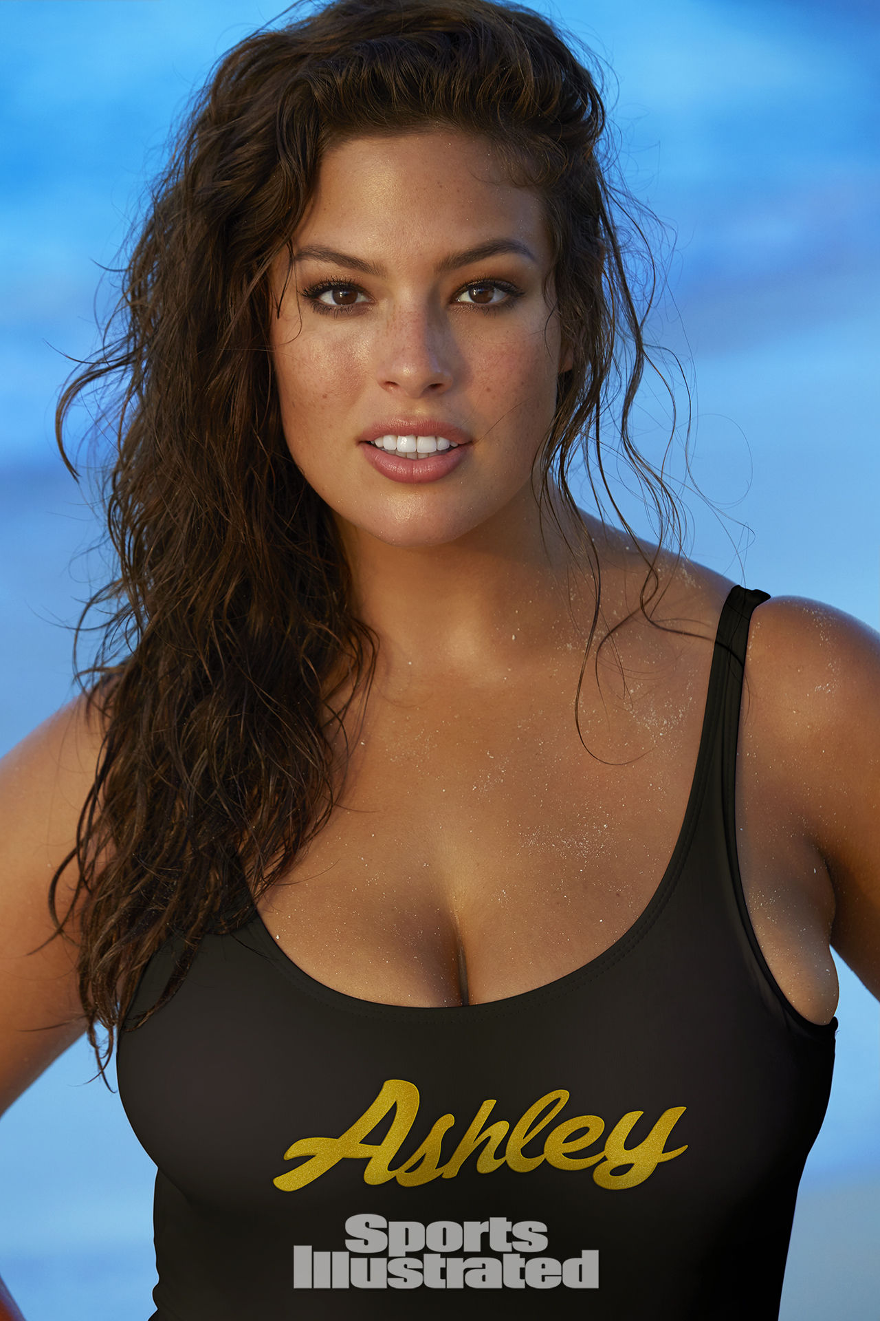 Ashley Graham was photographed by James Macari in Turks & Caicos. Swimsuit by Bruna Malcuelli.