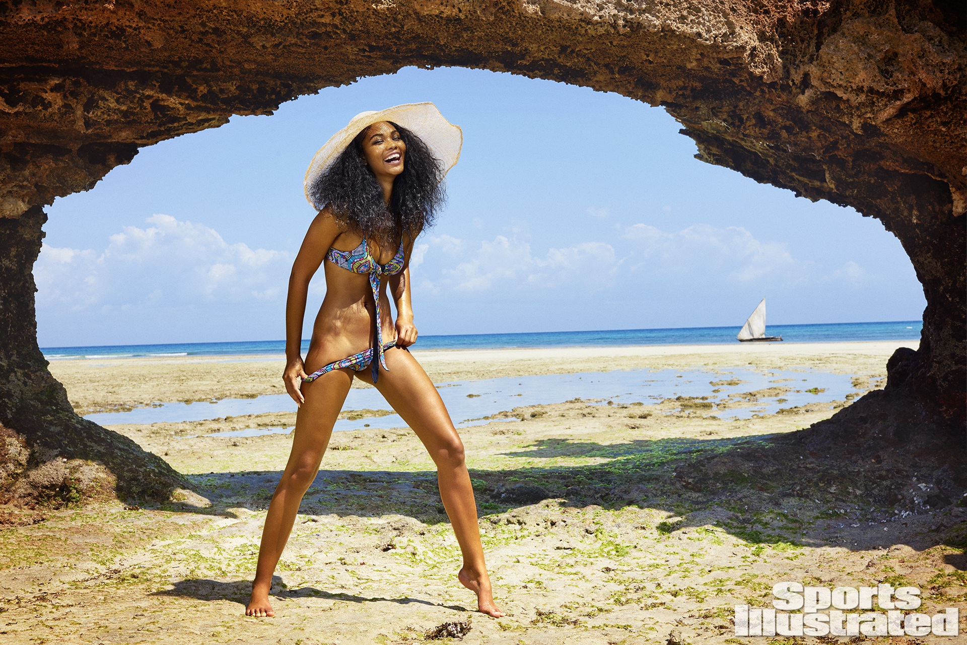 Chanel Iman was photographed by Ruven Afanador in Zanzibar. Swimsuit by L*SPACE By Monica Wise.