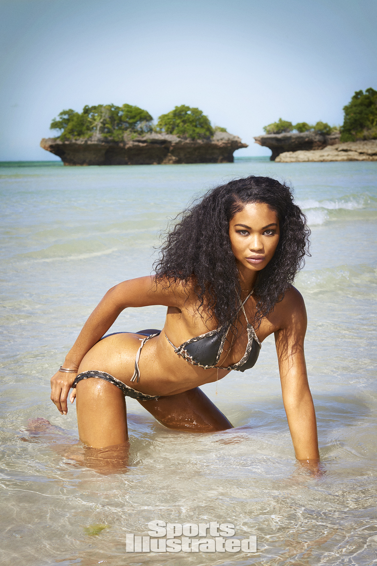 Chanel Iman was photographed by Ruven Afanador in Zanzibar. Swimsuit by INDAH.