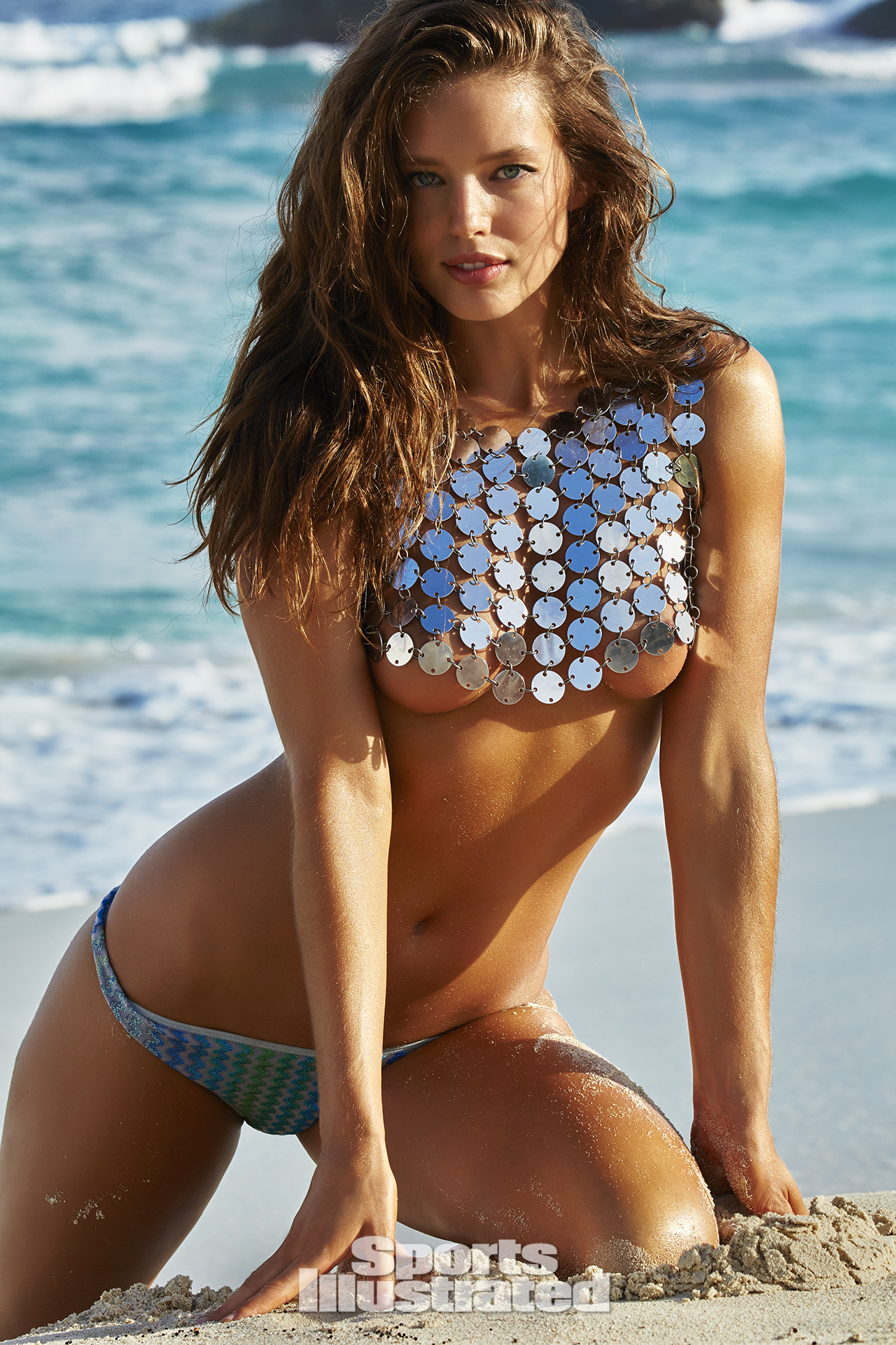 Emily DiDonato was photographed by James Macari in Turks & Caicos. Top by FANNIE SCHIAVONI. Swimsuit by Missoni.