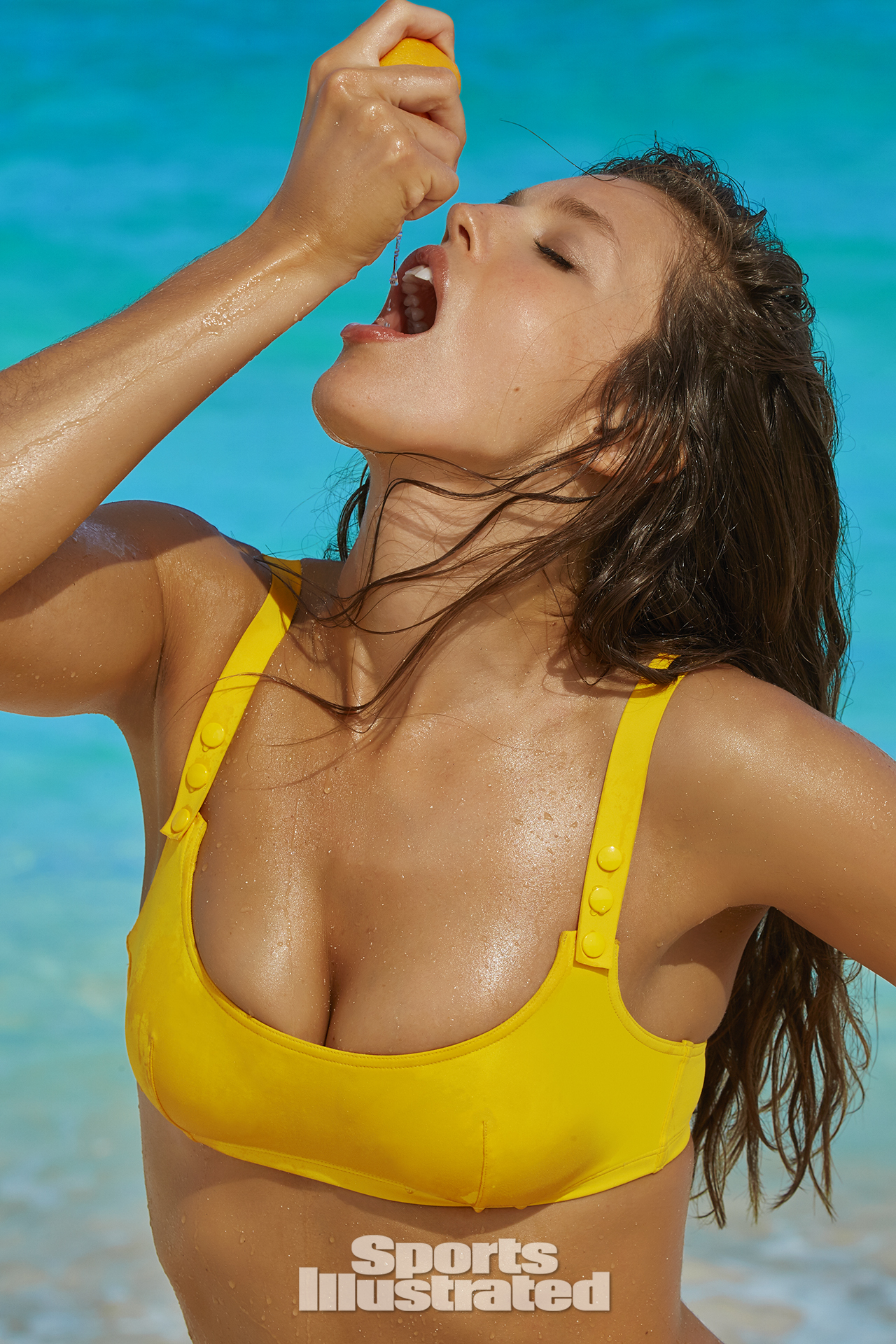 Emily DiDonato was photographed by James Macari in Turks & Caicos. Swimsuit by Eres.