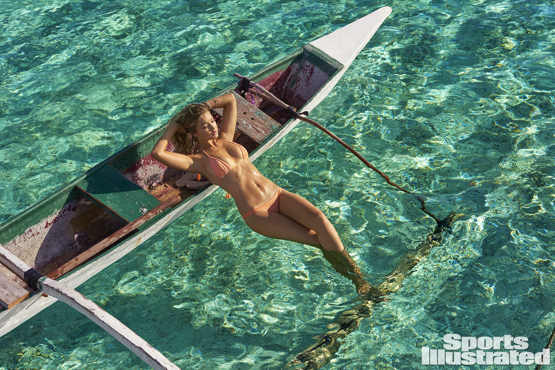 Gigi Hadid was photographed by Yu Tsai in The Islands Of Tahiti. Swimsuit by Acacia Swimwear.
