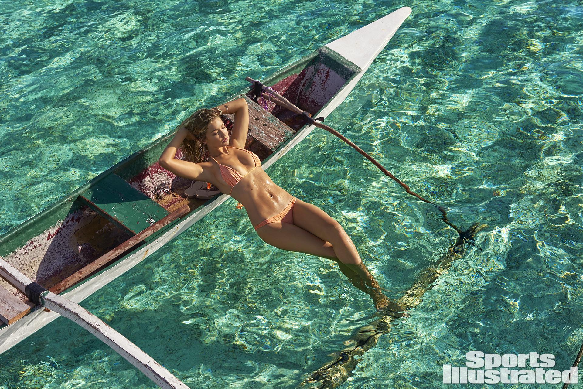 Gigi Hadid was photographed by Yu Tsai in The Islands Of Tahiti. Swimsuit by Acacia Swimwear.