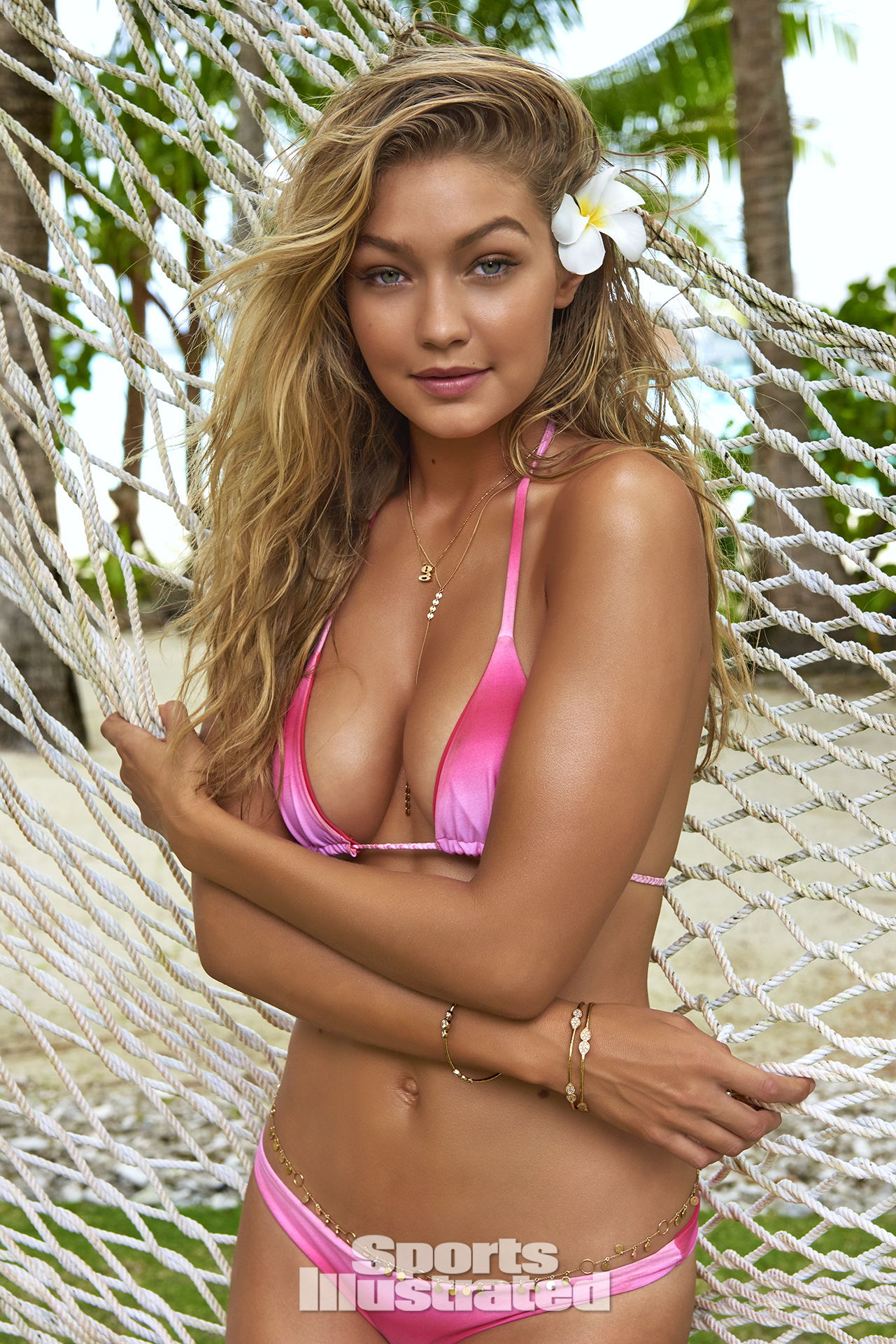 Gigi Hadid was photographed by Yu Tsai in The Islands Of Tahiti. Swimsuit by Hayhay Couture By Hayley Kaysing.