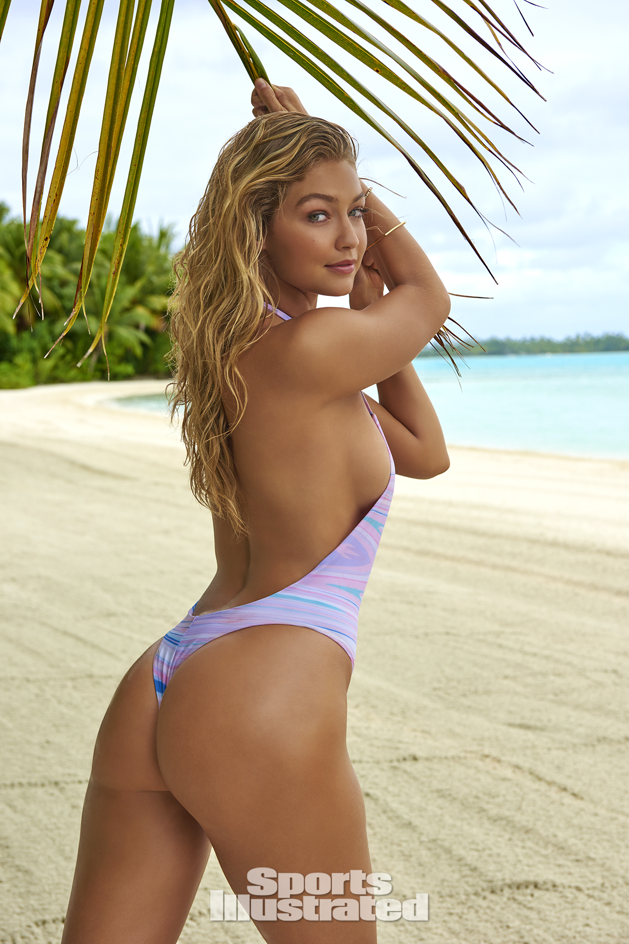 Gigi Hadid was photographed by Yu Tsai in The Islands Of Tahiti. Swimsuit by Alati Swim.