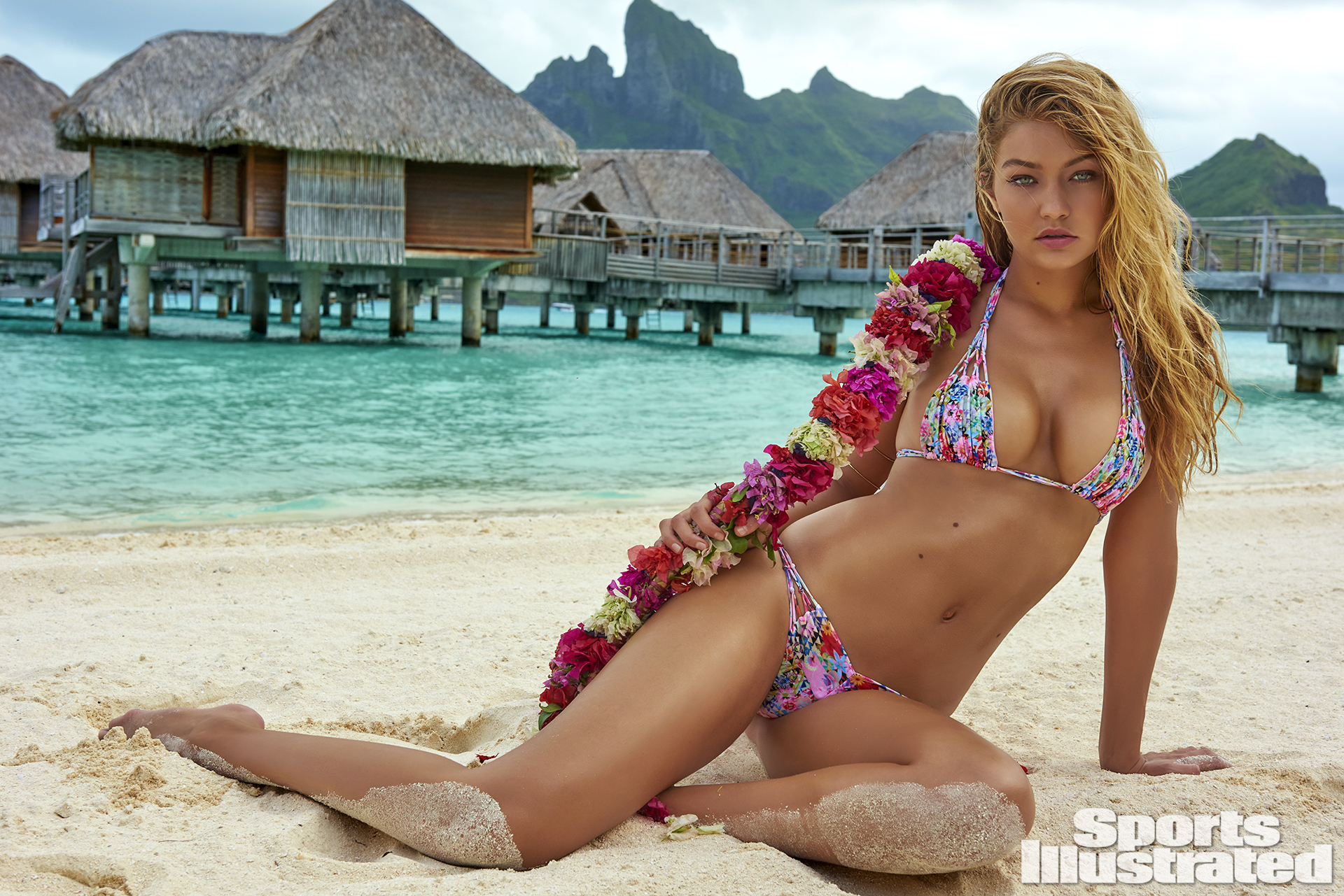 Gigi Hadid was photographed by Yu Tsai in The Islands Of Tahiti. Swimsuit by Kai Lani Swimwear.