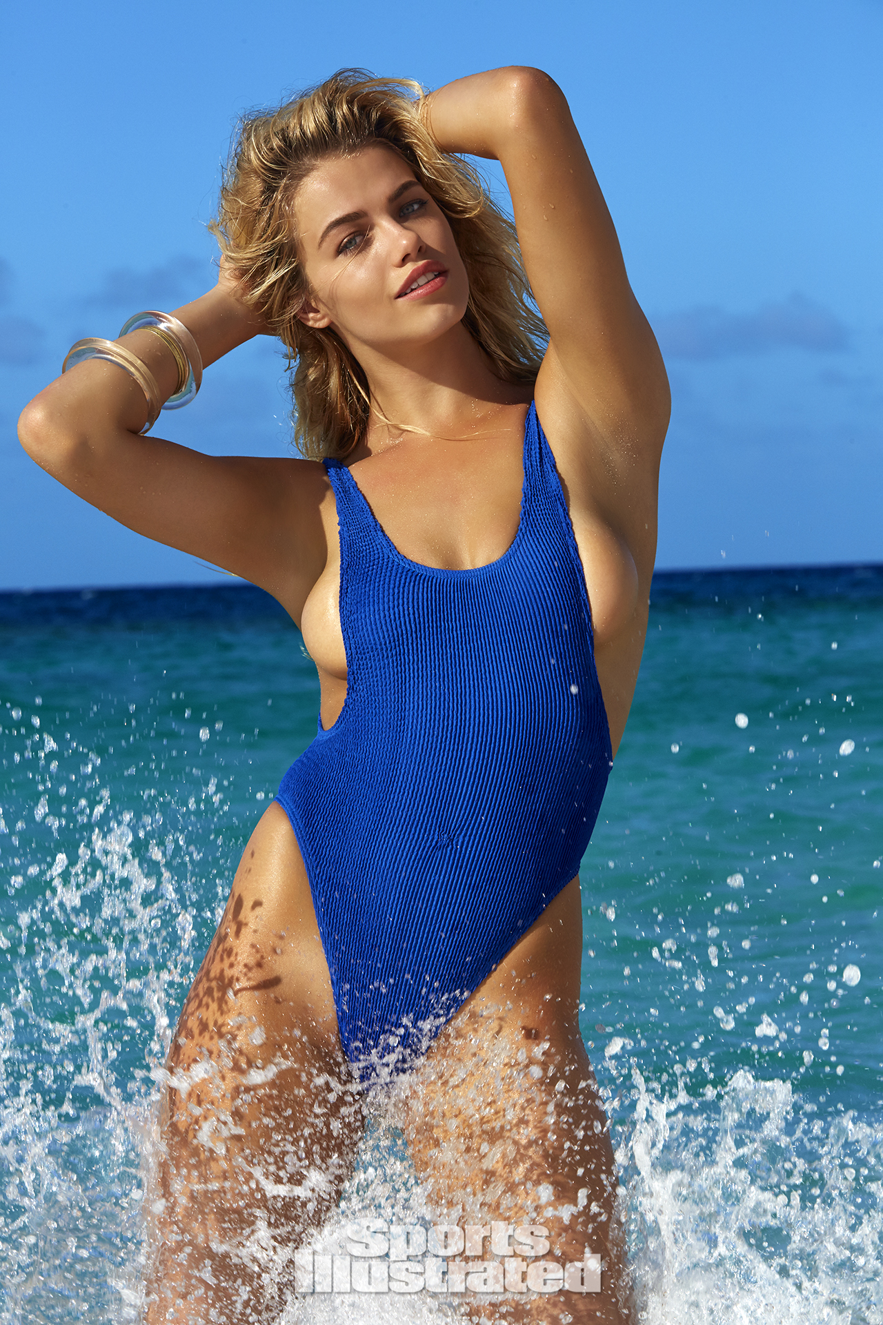 Hailey Clauson was photographed by James Macari in Turks & Caicos. Swimsuit by Bond-Eye Australia.