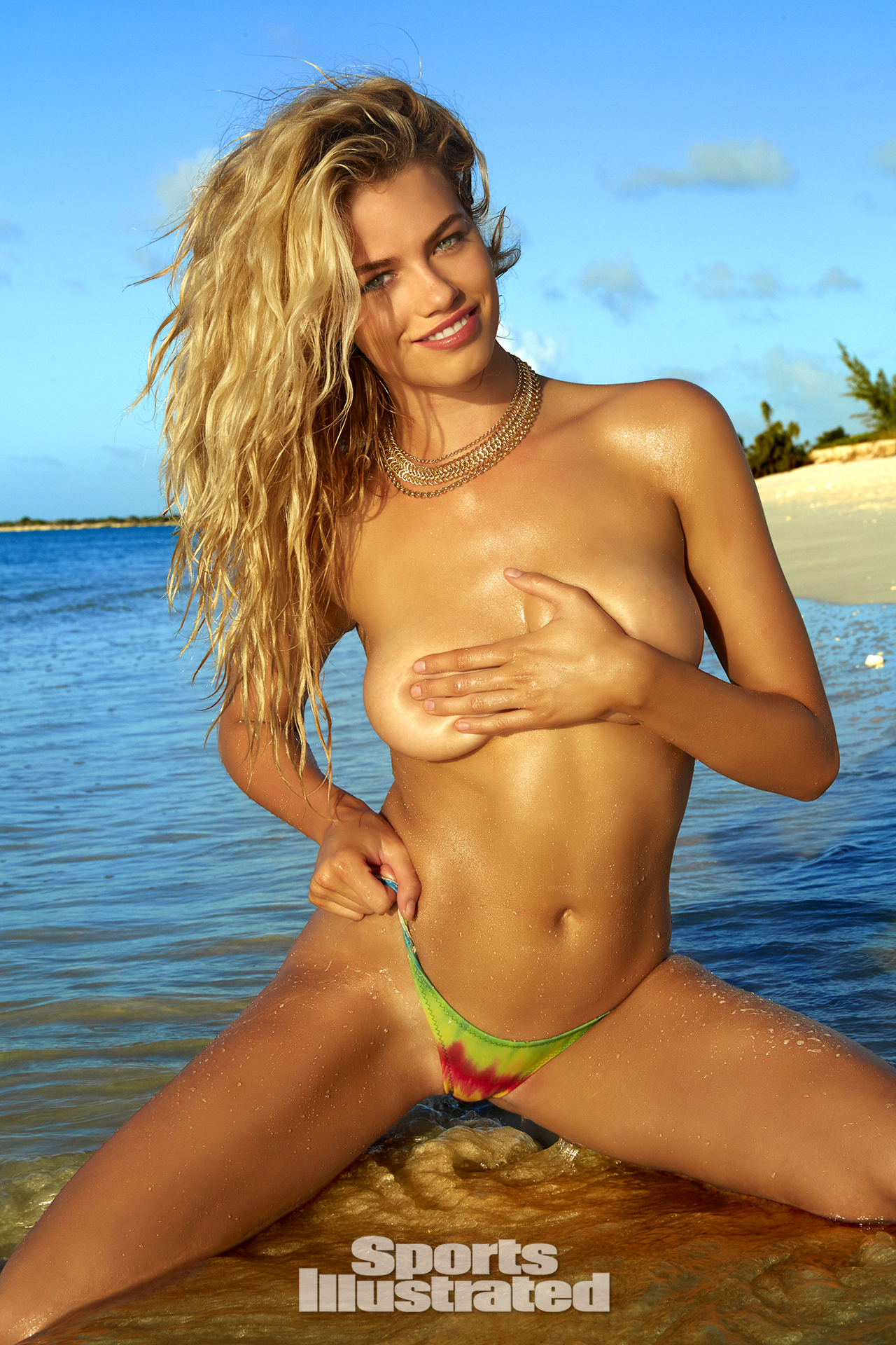 Hailey Clauson was photographed by James Macari in Turks & Caicos. Swimsuit by La Vida Aloha.