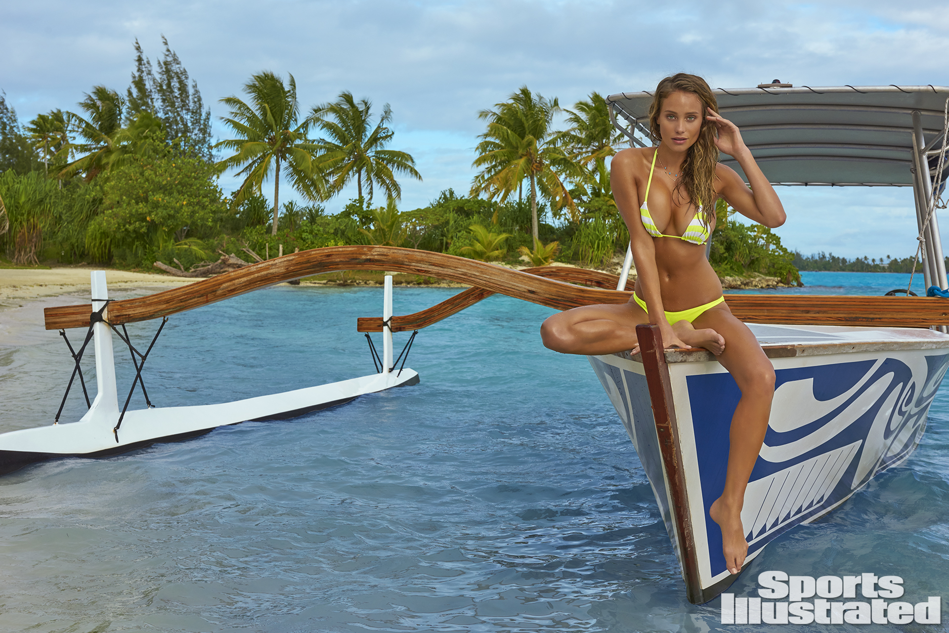 Hannah Davis was photographed by Yu Tsai in The Islands Of Tahiti. Swimsuit by Vitamin A.