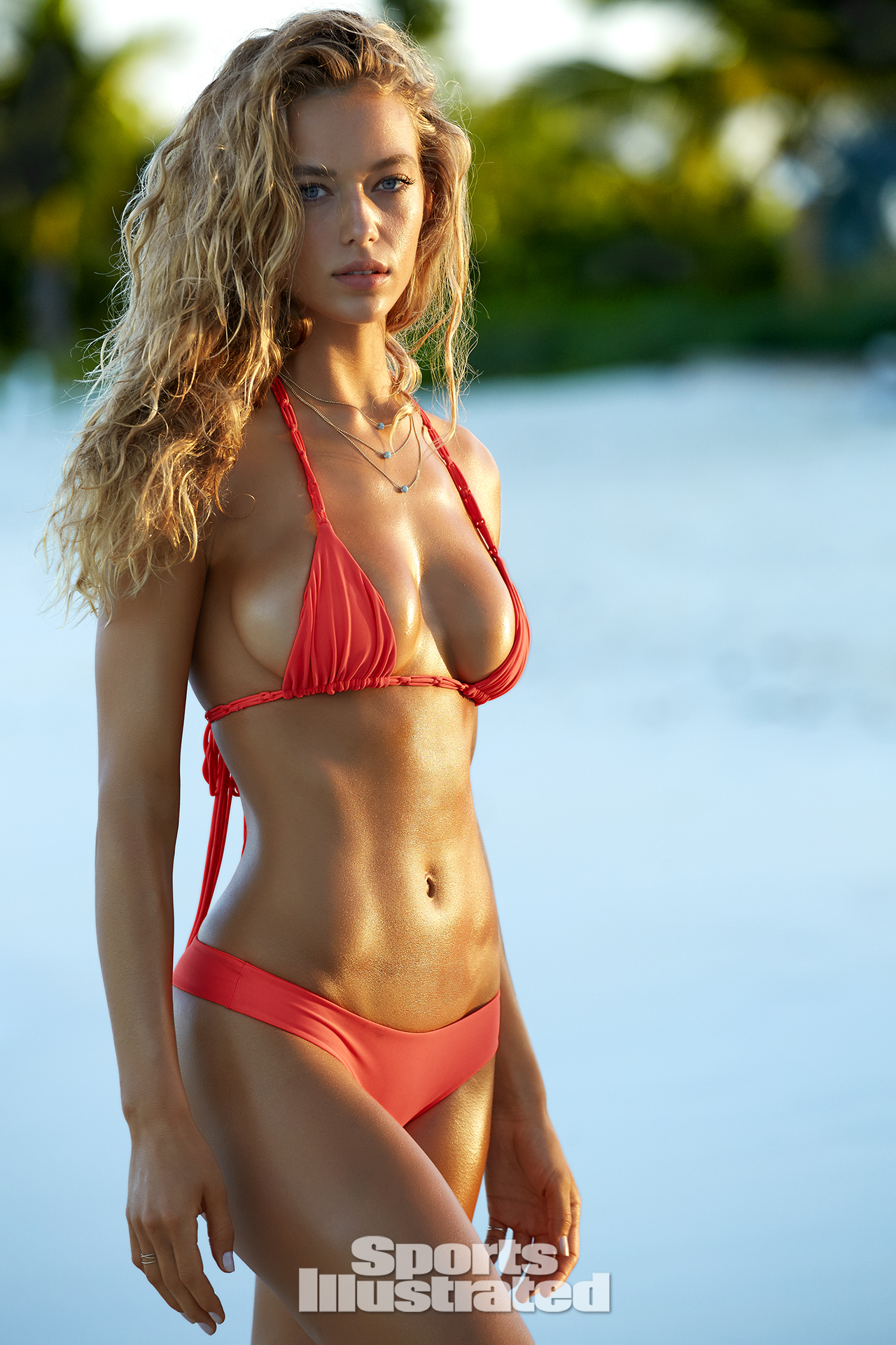 Hannah Ferguson was photographed by James Macari in Turks & Caicos. Swimsuit by MIKOH.