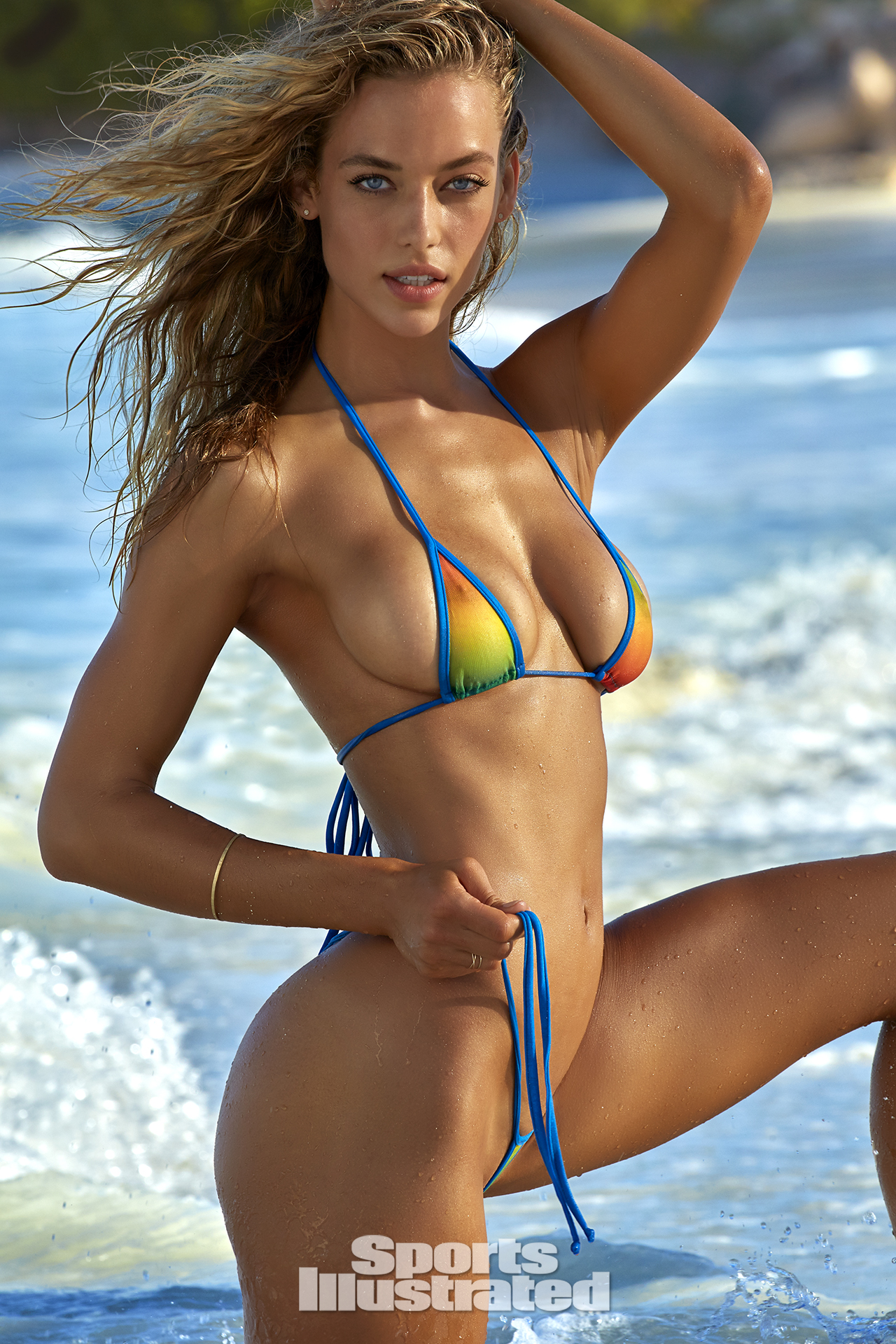 Hannah Ferguson was photographed by James Macari in Turks & Caicos. Swimsuit by Lybethras.