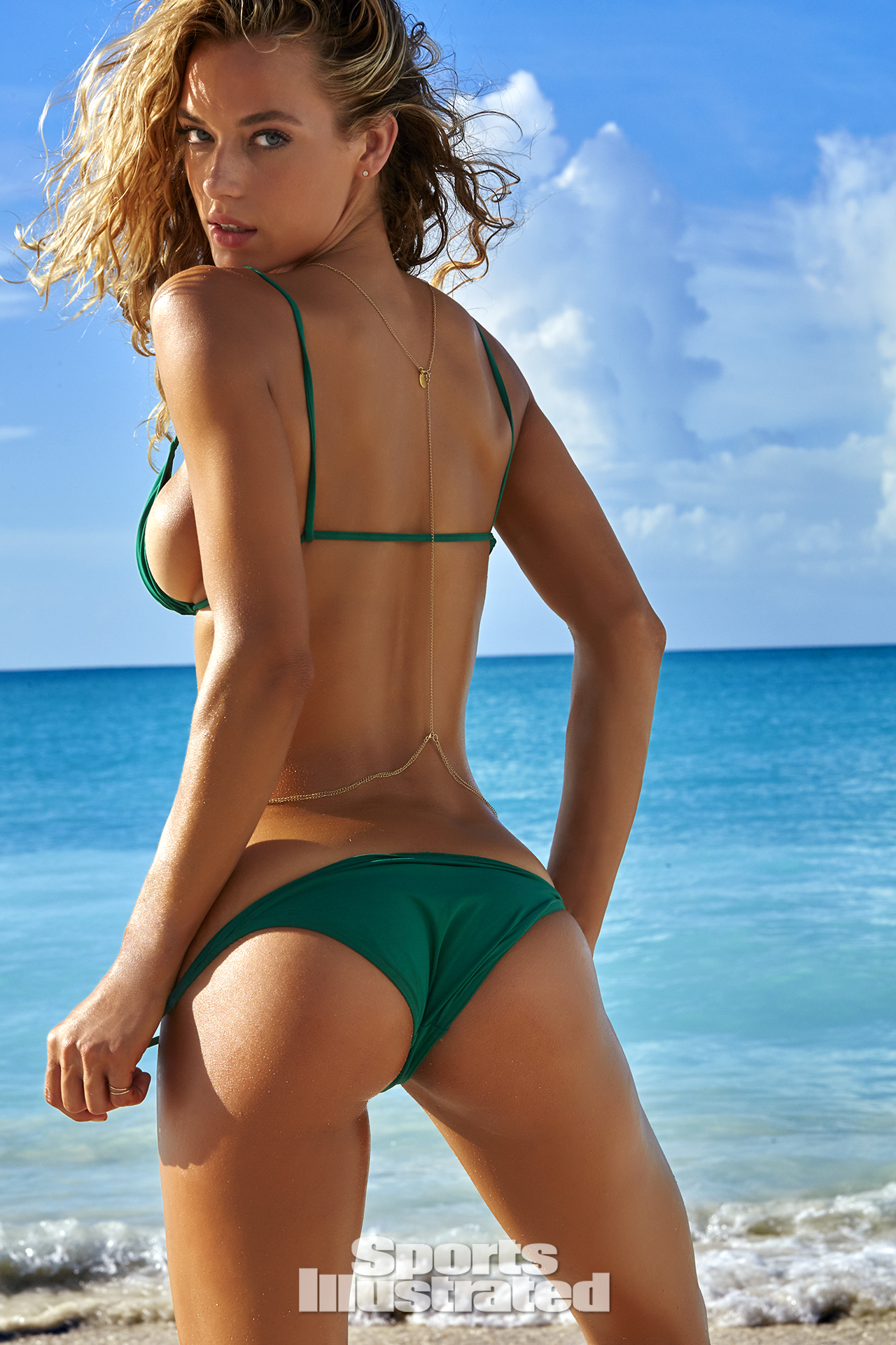 Hannah Ferguson was photographed by James Macari in Turks & Caicos. Swimsuit by Eres.