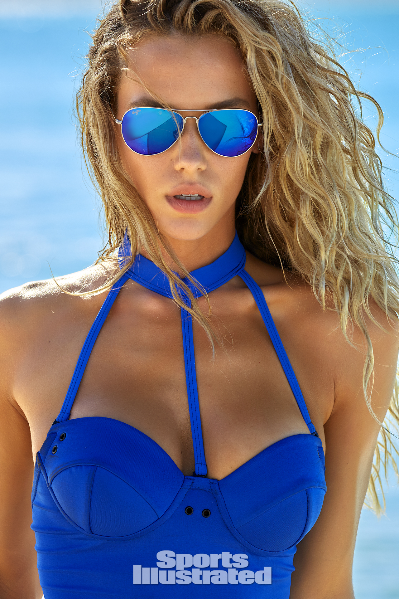 Hannah Ferguson was photographed by James Macari in Turks & Caicos. Swimsuit by Chromat.
