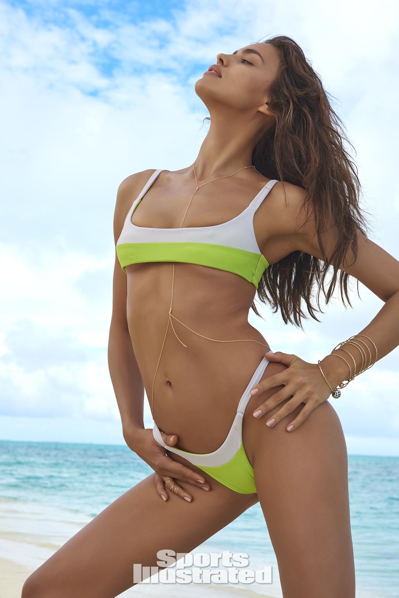 Irina Shayk was photographed by Yu Tsai in The Islands Of Tahiti. Swimsuit by Rocha Swim.