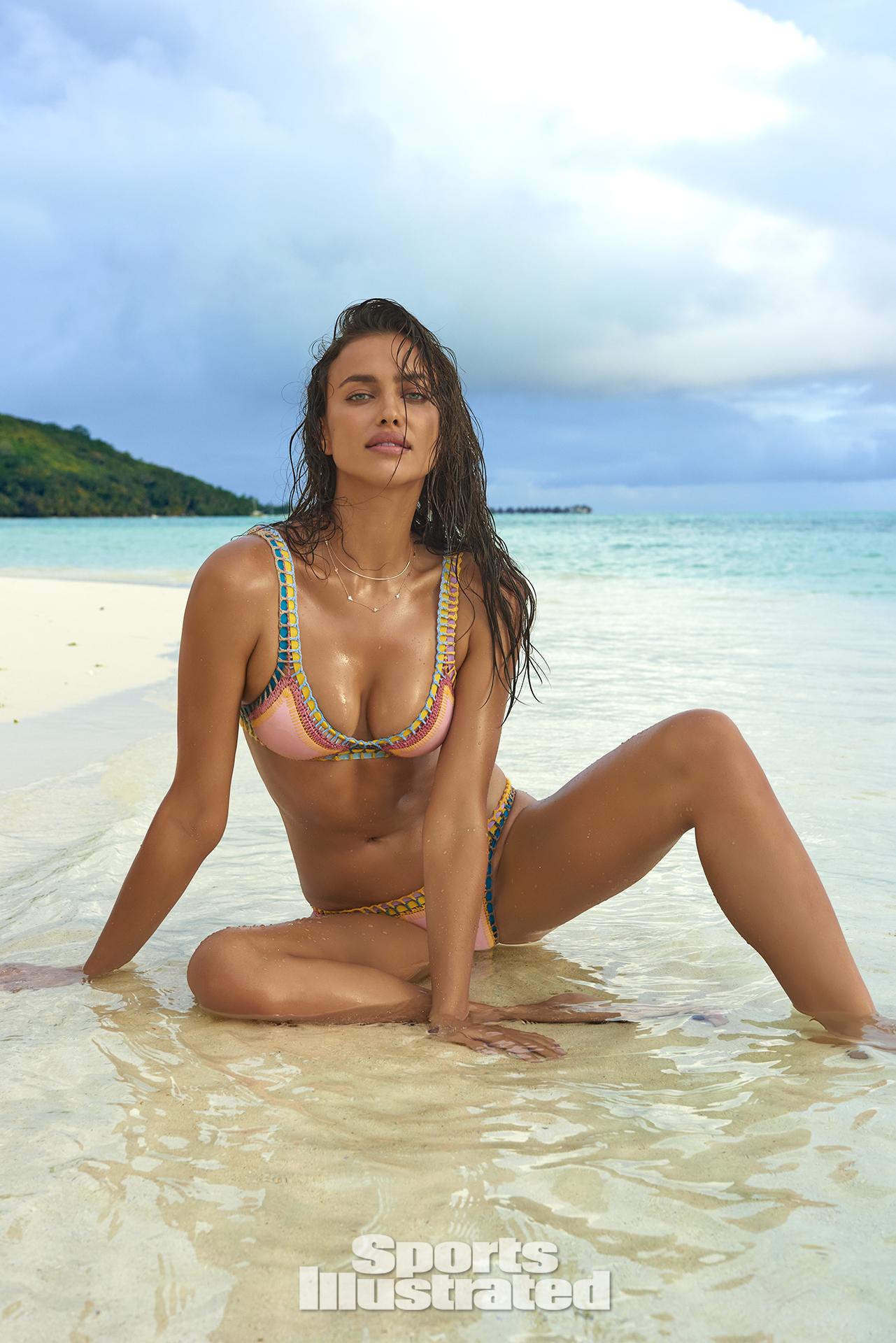 Irina Shayk was photographed by Yu Tsai in The Islands Of Tahiti. Swimsuit by KIINI.