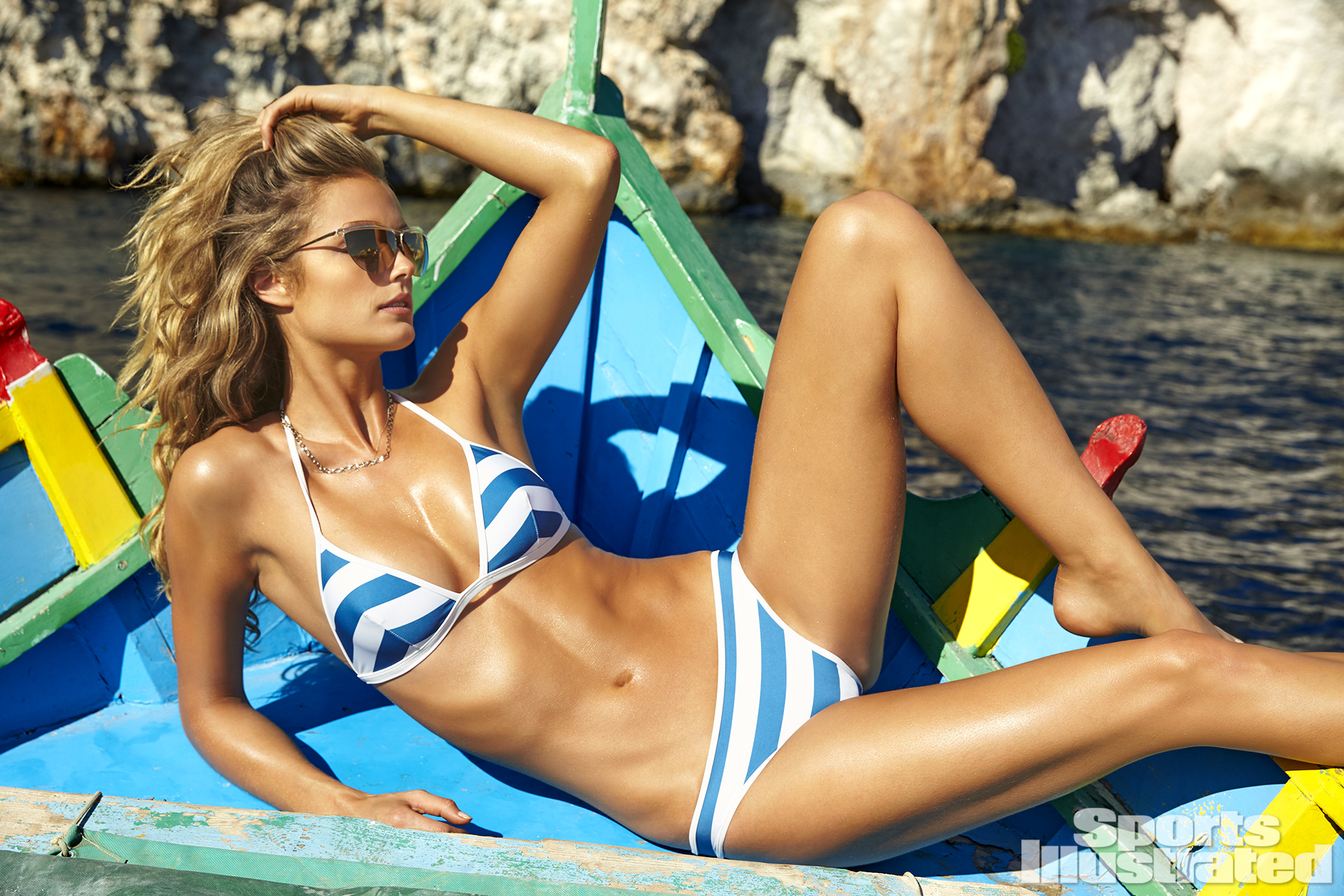 Kate Bock was photographed by Ben Watts in Malta. Swimsuit by Solid & Striped.