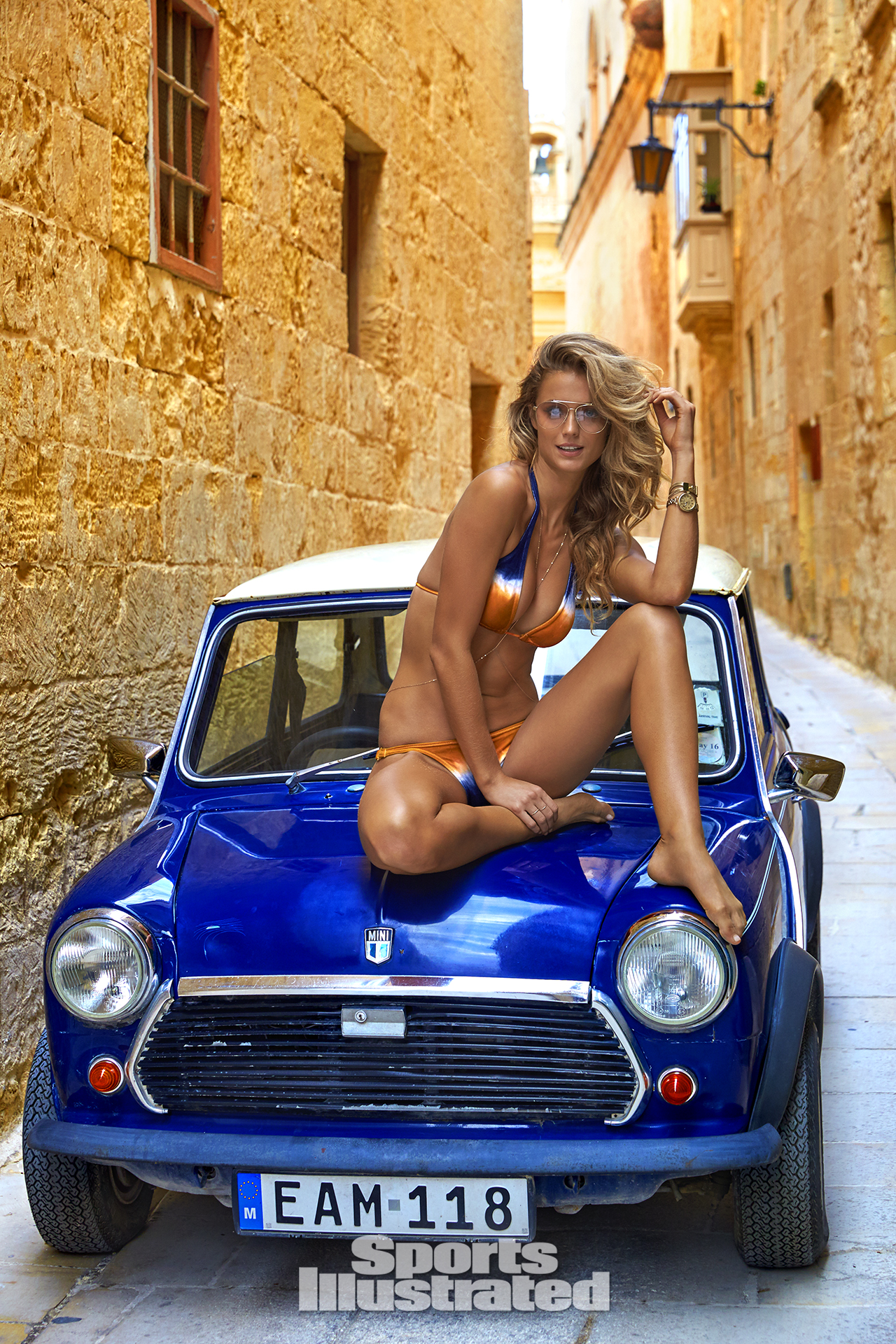 Kate Bock was photographed by Ben Watts in Malta. Swimsuit by Cia. Maritima.