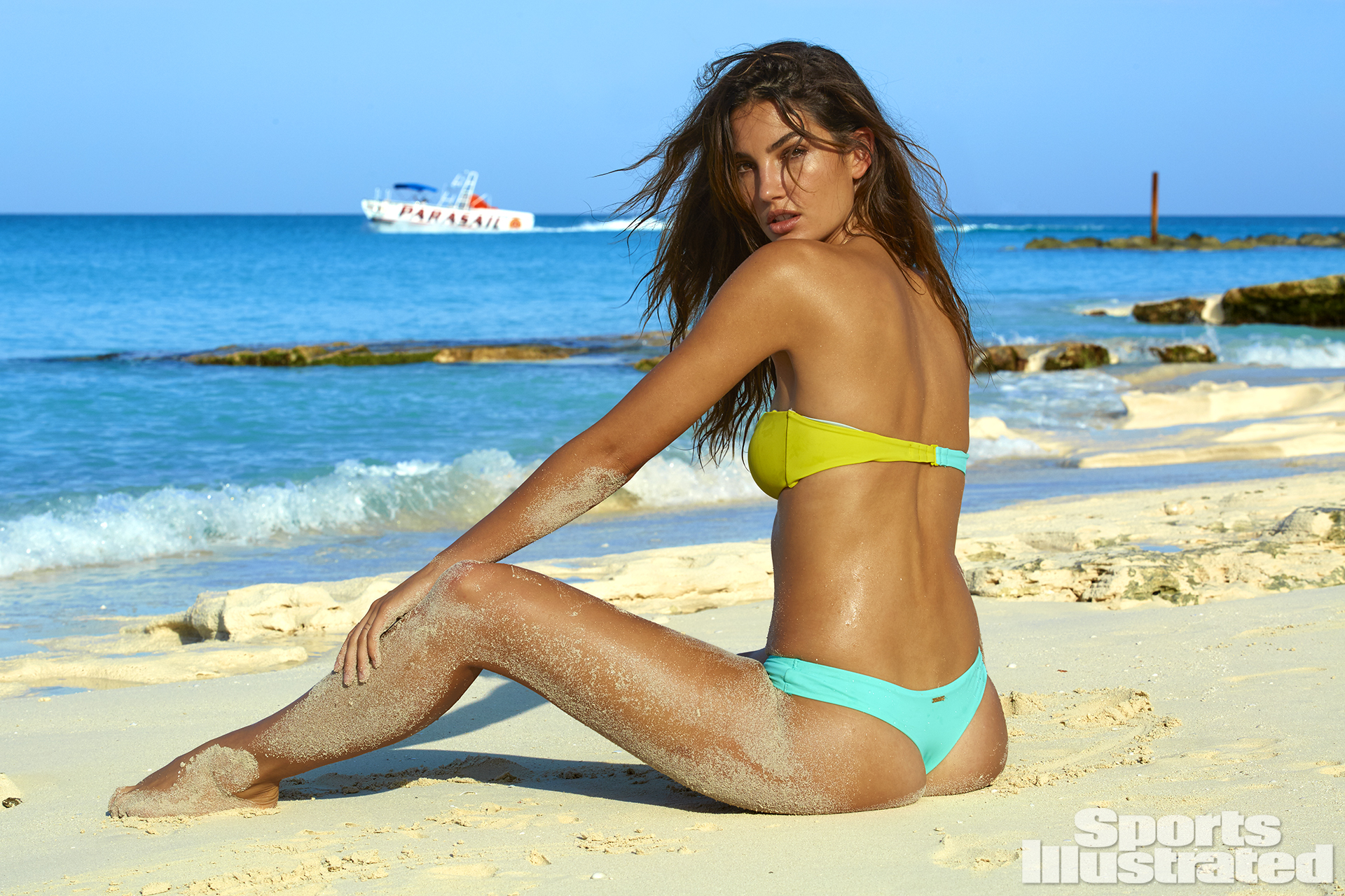 <p>Lily Aldridge was photographed by James Macari in Turks & Caicos. Swimsuit by Victoria's Secret.</p>