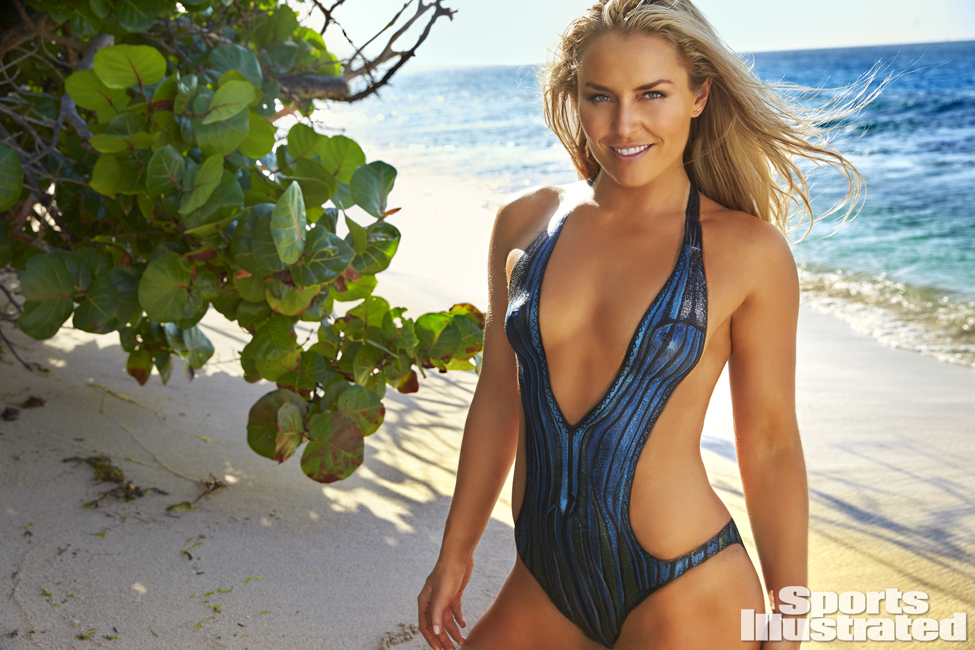 <p>Lindsey Vonn was photographed by Frederic Pinet in Petit St. Vincent. Swimsuit inspired by Missoni.</p>