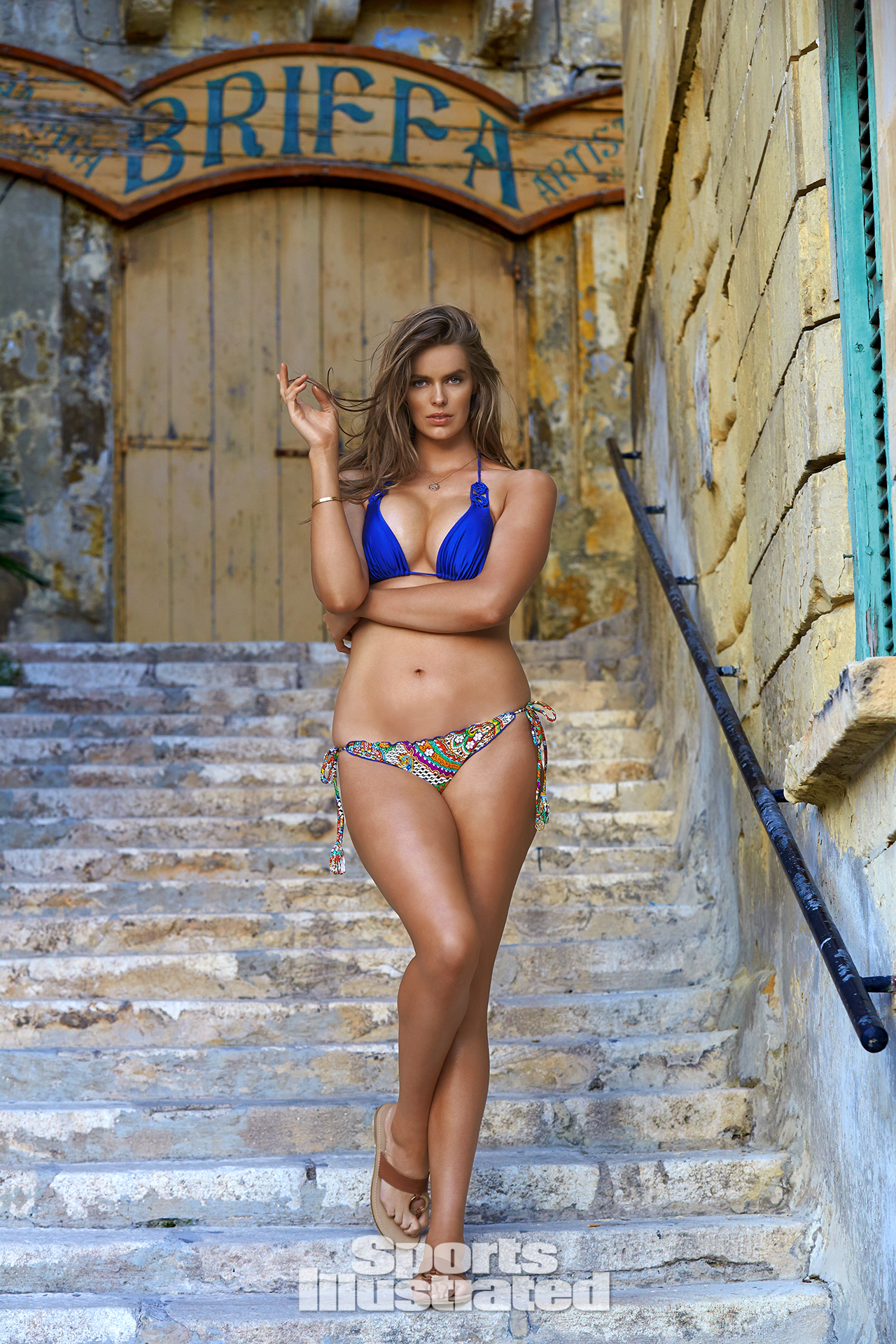 Robyn Lawley was photographed by Ben Watts in Malta. Swimsuit by Luli Fama Swimwear.
