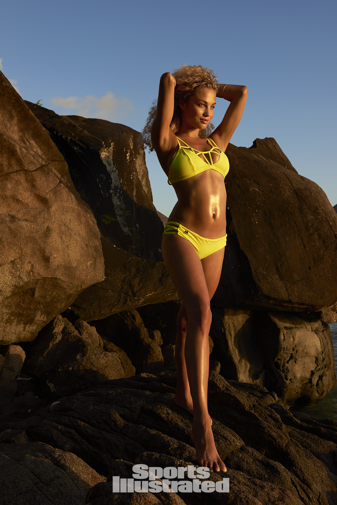 Rose Bertram was photographed by Yu Tsai in The Islands Of Tahiti. Swimsuit by MAAJI SWIMWEAR.