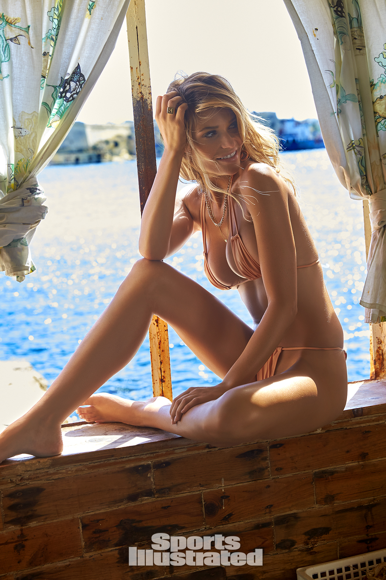 Samantha Hoopes was photographed by Ben Watts in Malta. Swimsuit by Hot-As-Hell.