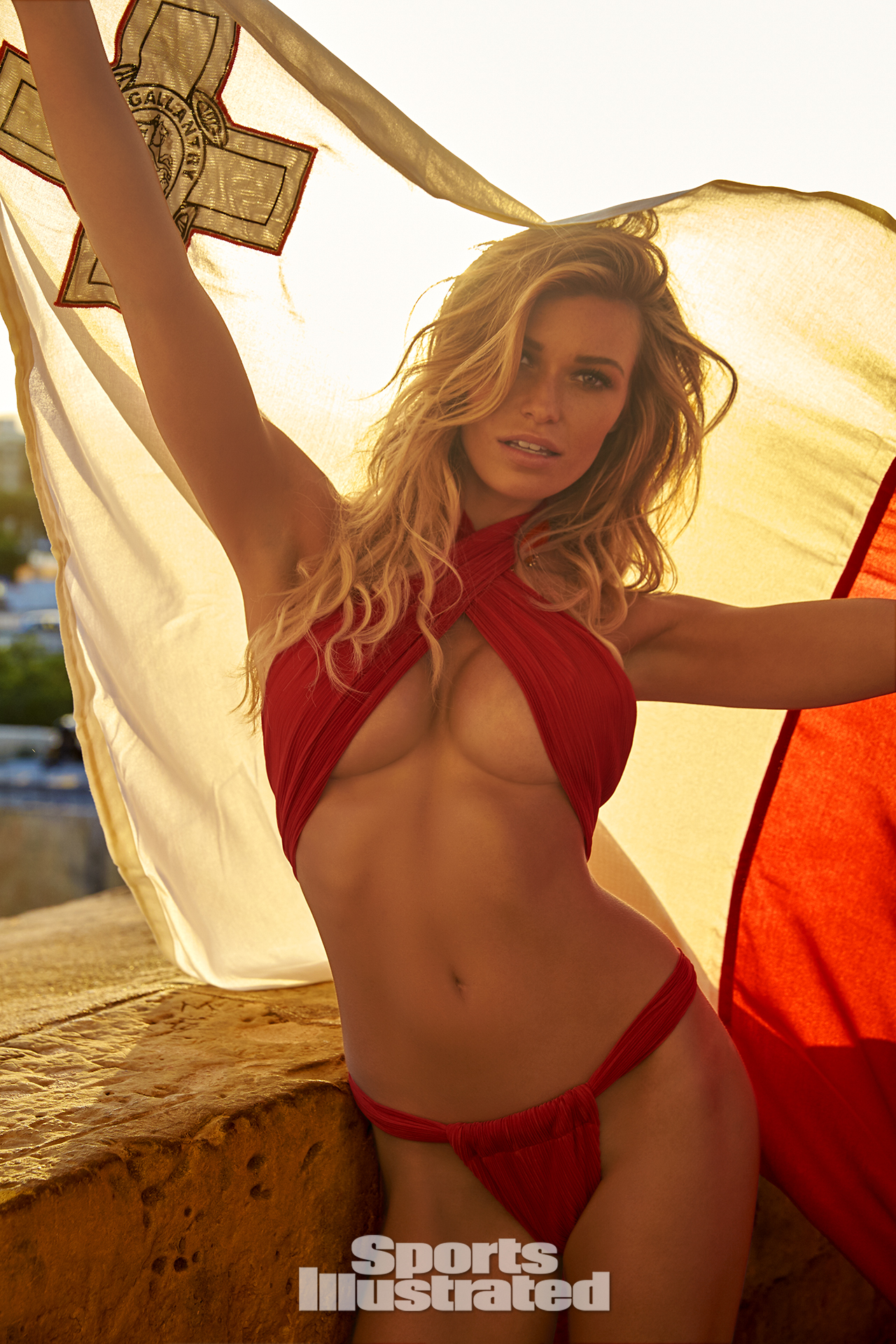 Samantha Hoopes was photographed by Ben Watts in Malta. Swimsuit by GOTTEX.