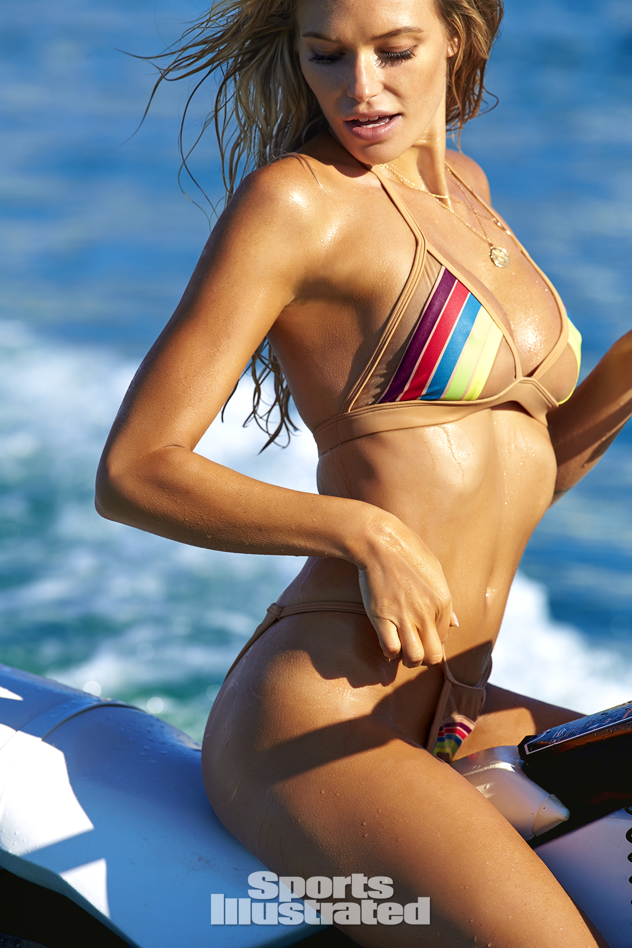 Samantha Hoopes was photographed by Ben Watts in Malta. Swimsuit by Pacific And Driftwood.