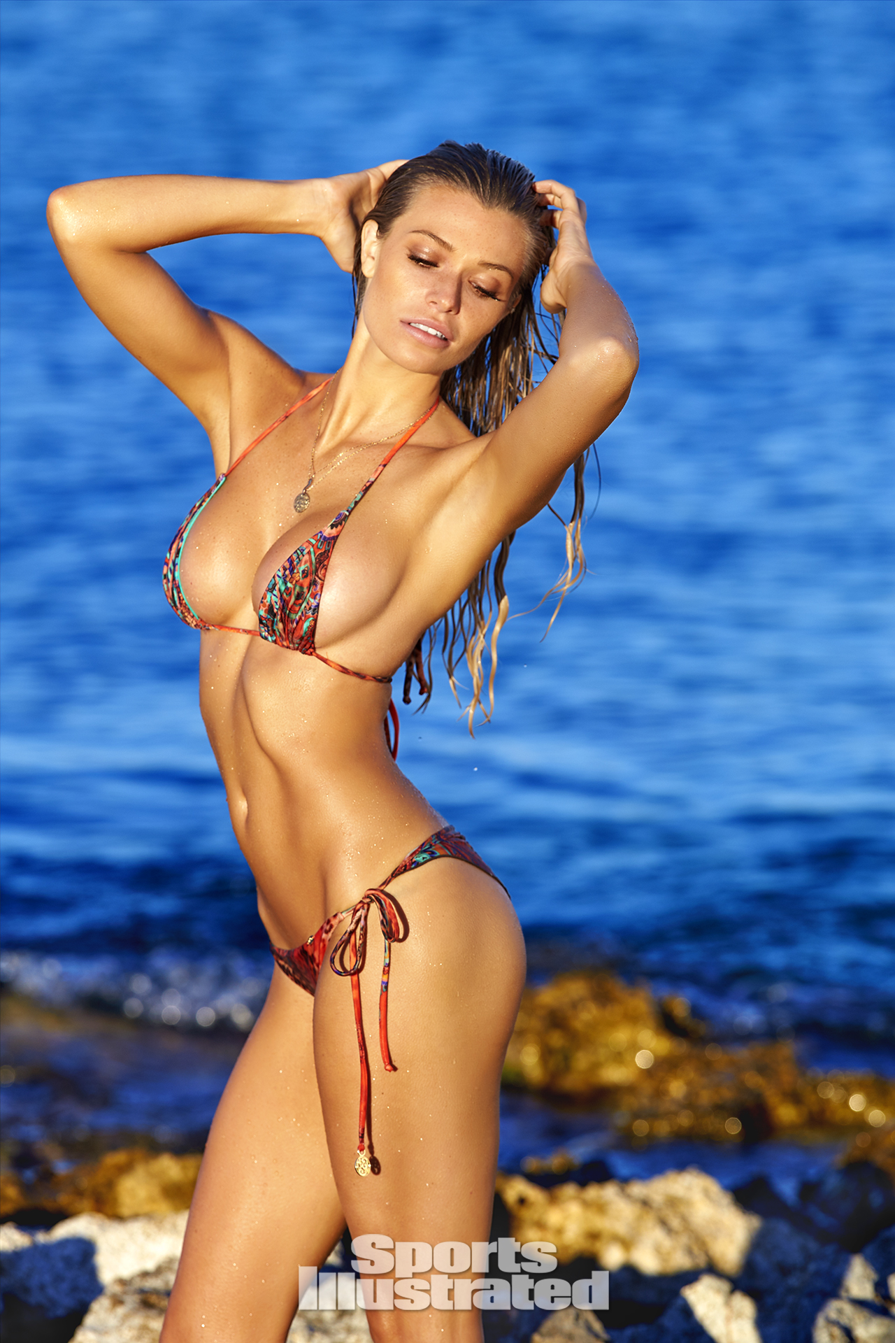 Samantha Hoopes was photographed by Ben Watts in Malta. Swimsuit by Luli Fama Swimwear.