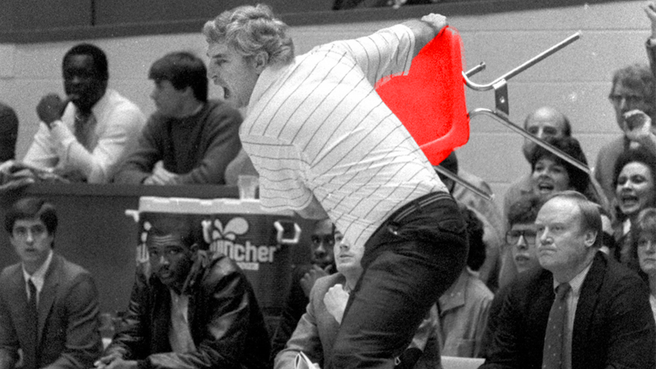bobby knight chair throw VIDEO   University of Indiana's Bobby Knight's chair toss | SI.com bobby knight chair throw