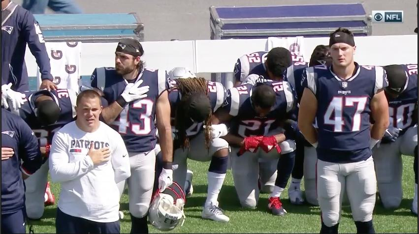 Multiple Patriots Players Kneel During National Anthem
